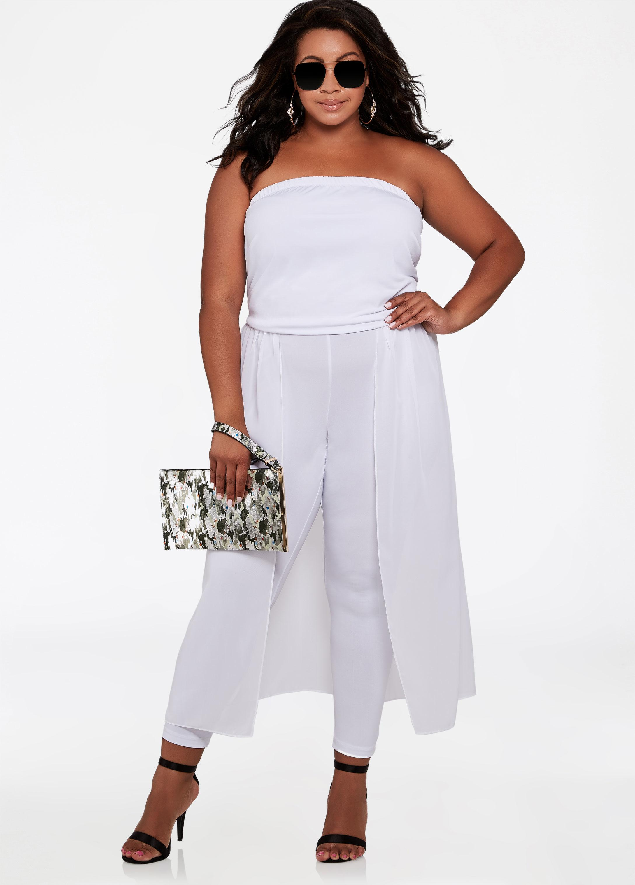 e5e56ad3402a Lyst - Ashley Stewart Plus Size Maxi Skirt Overlay Jumpsuit in White