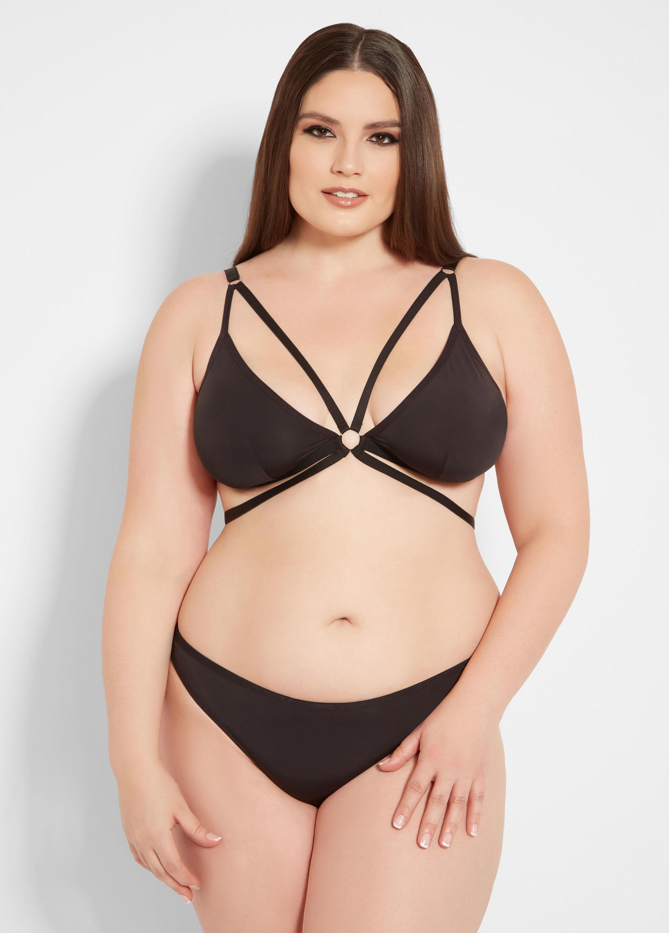 68a4cd33555a9 Lyst - Ashley Stewart Plus Size Two Piece Strappy Bra Set in Black