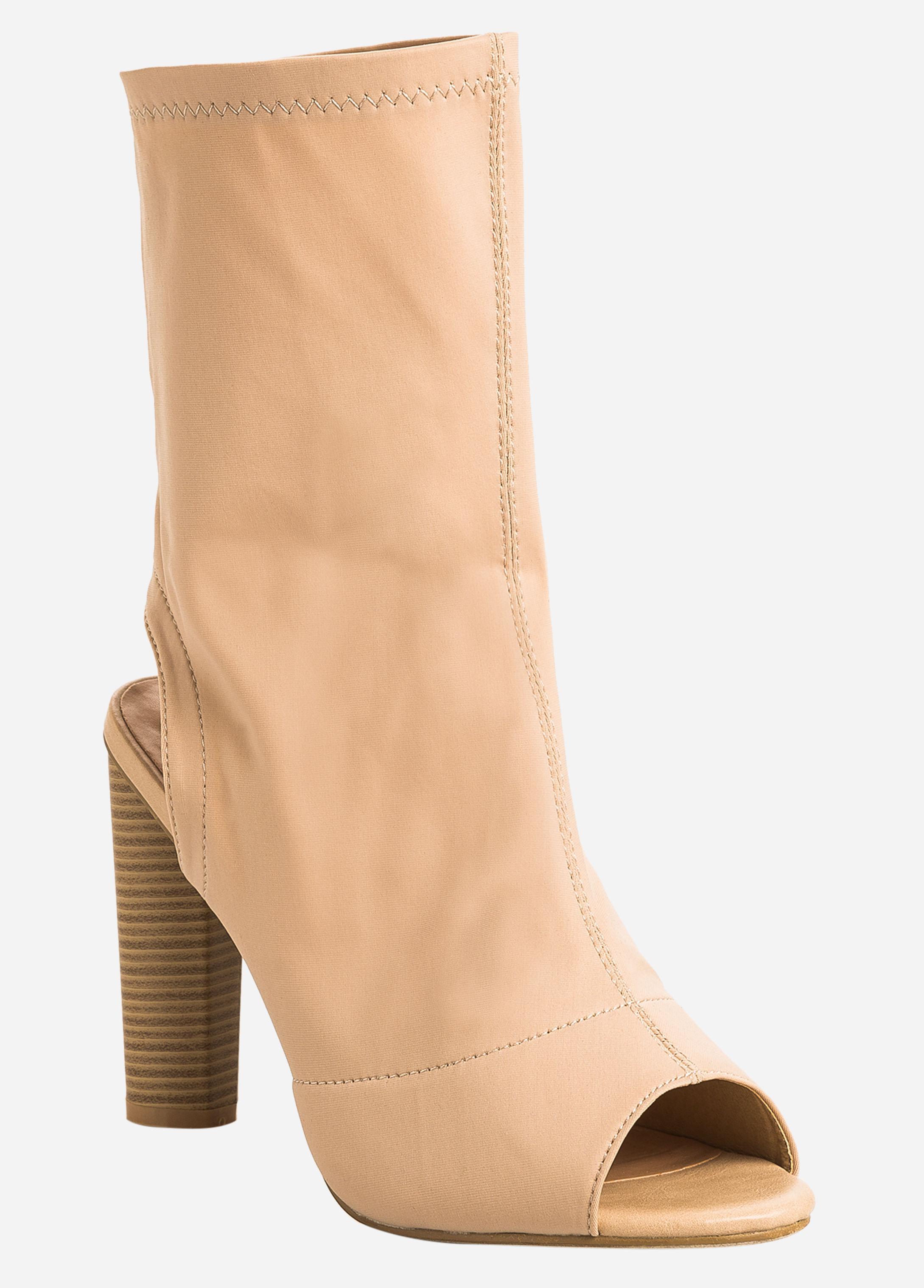 fd29e3c4b49a Lyst - Ashley Stewart Heel Cutout Open Toe Booties - Wide Width
