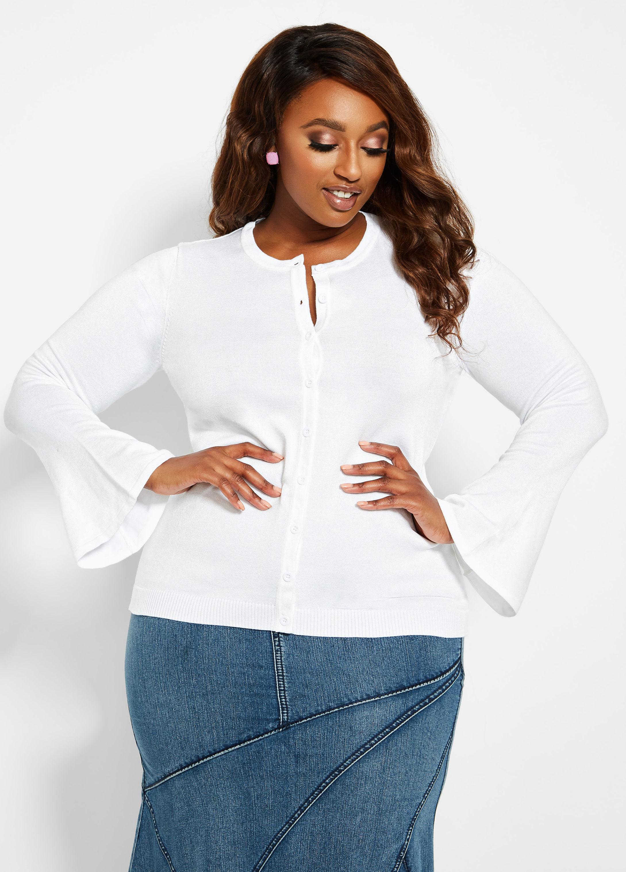 d67b3fc867d Lyst - Ashley Stewart Plus Size Bell Sleeve Basic Cardigan in White