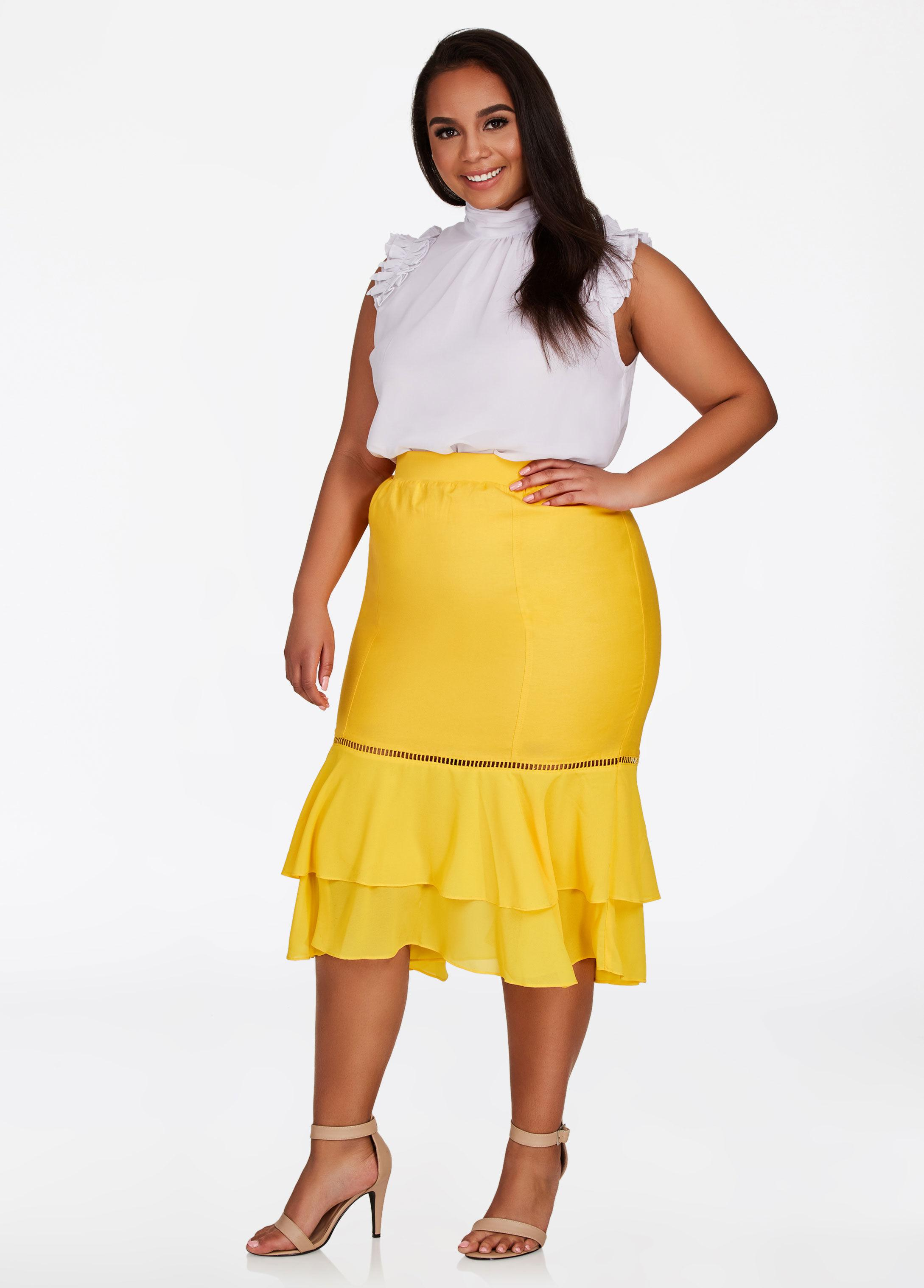 3354336adc3 Lyst - Ashley Stewart Plus Size Ruffle Hem Linen Skirt in Yellow