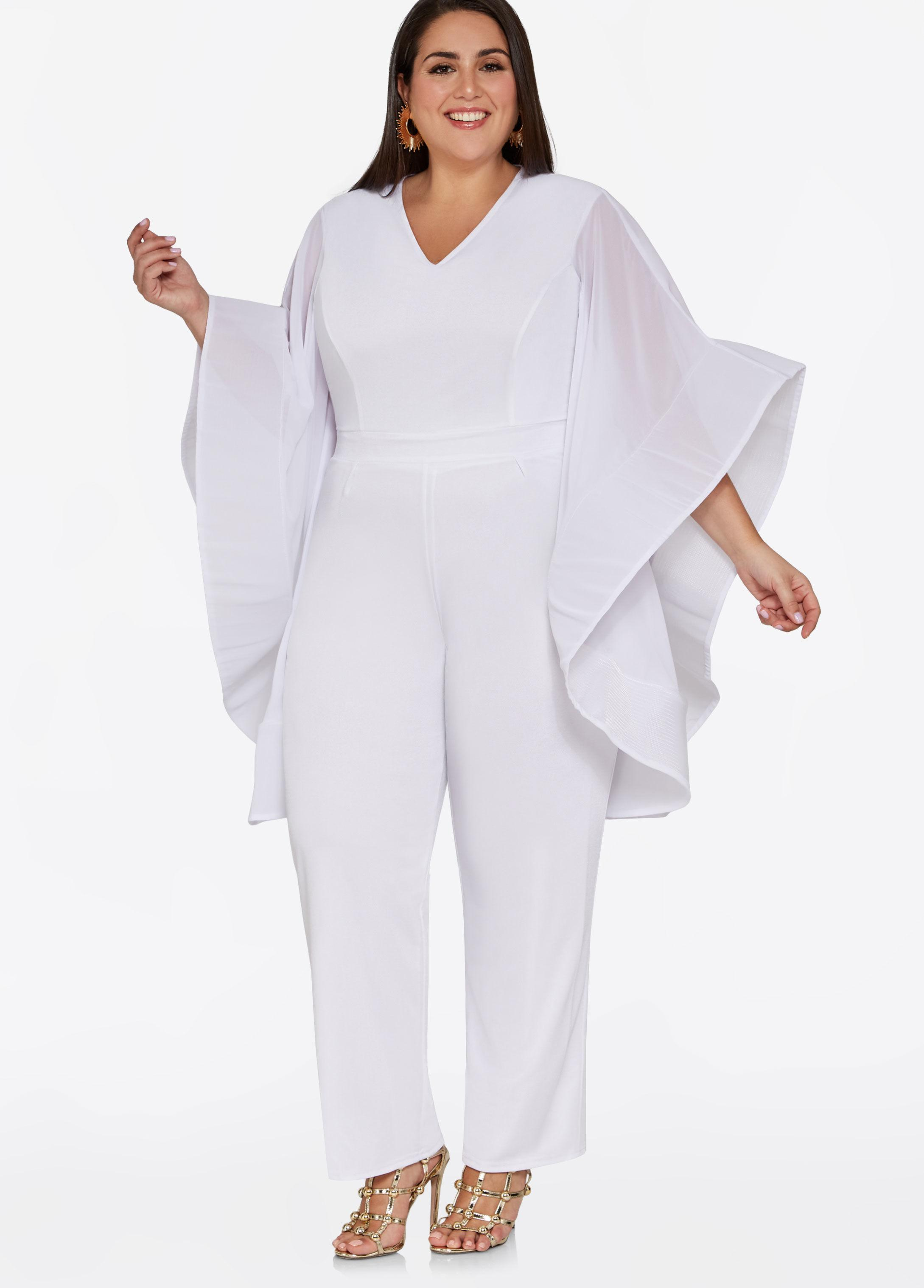 0c2bc0d838aa Lyst - Ashley Stewart Drama Sleeve V Neck Jumpsuit in White