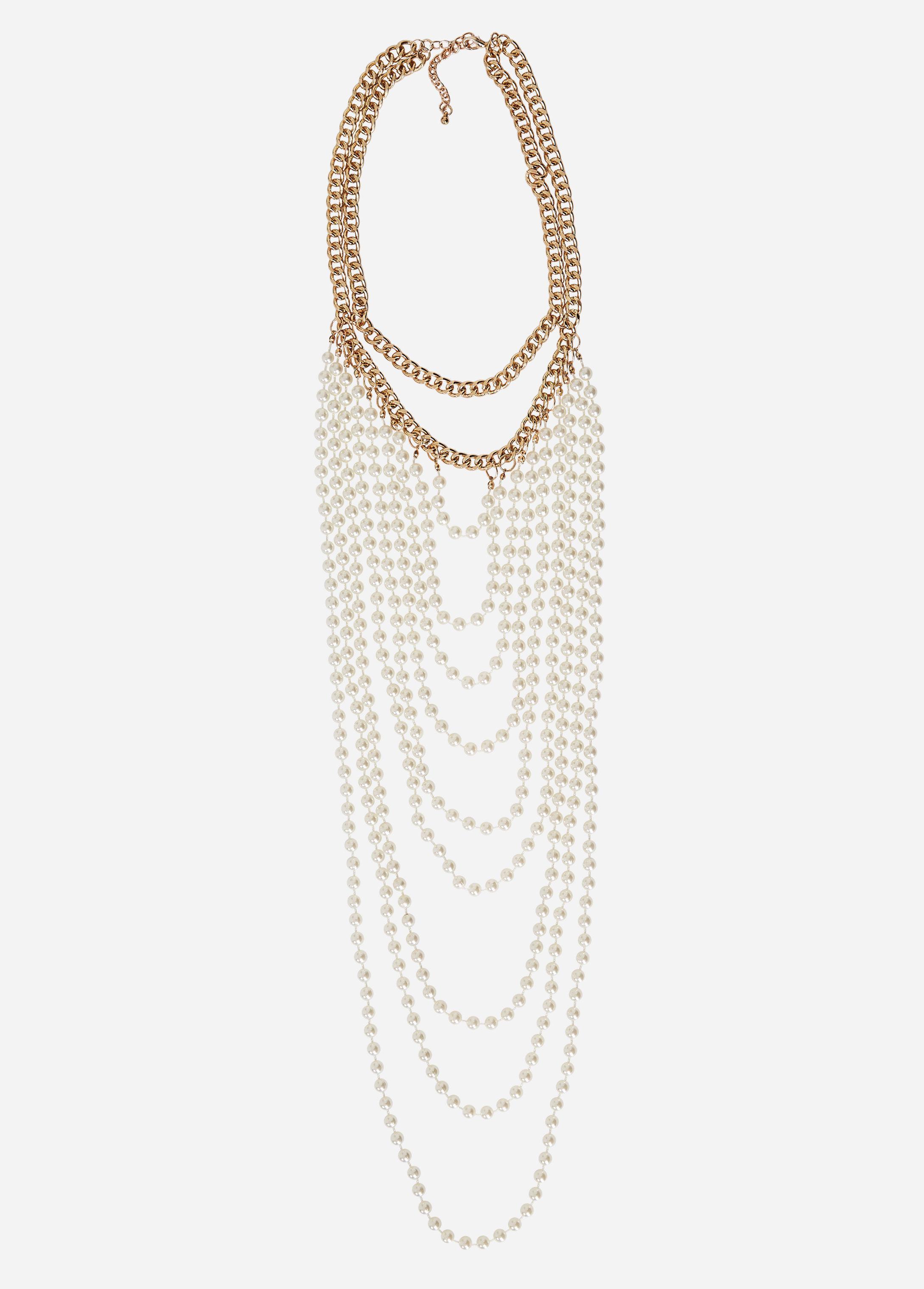 Ashley Stewart Druzy Beaded Gold Chain Necklace YMG1EAn