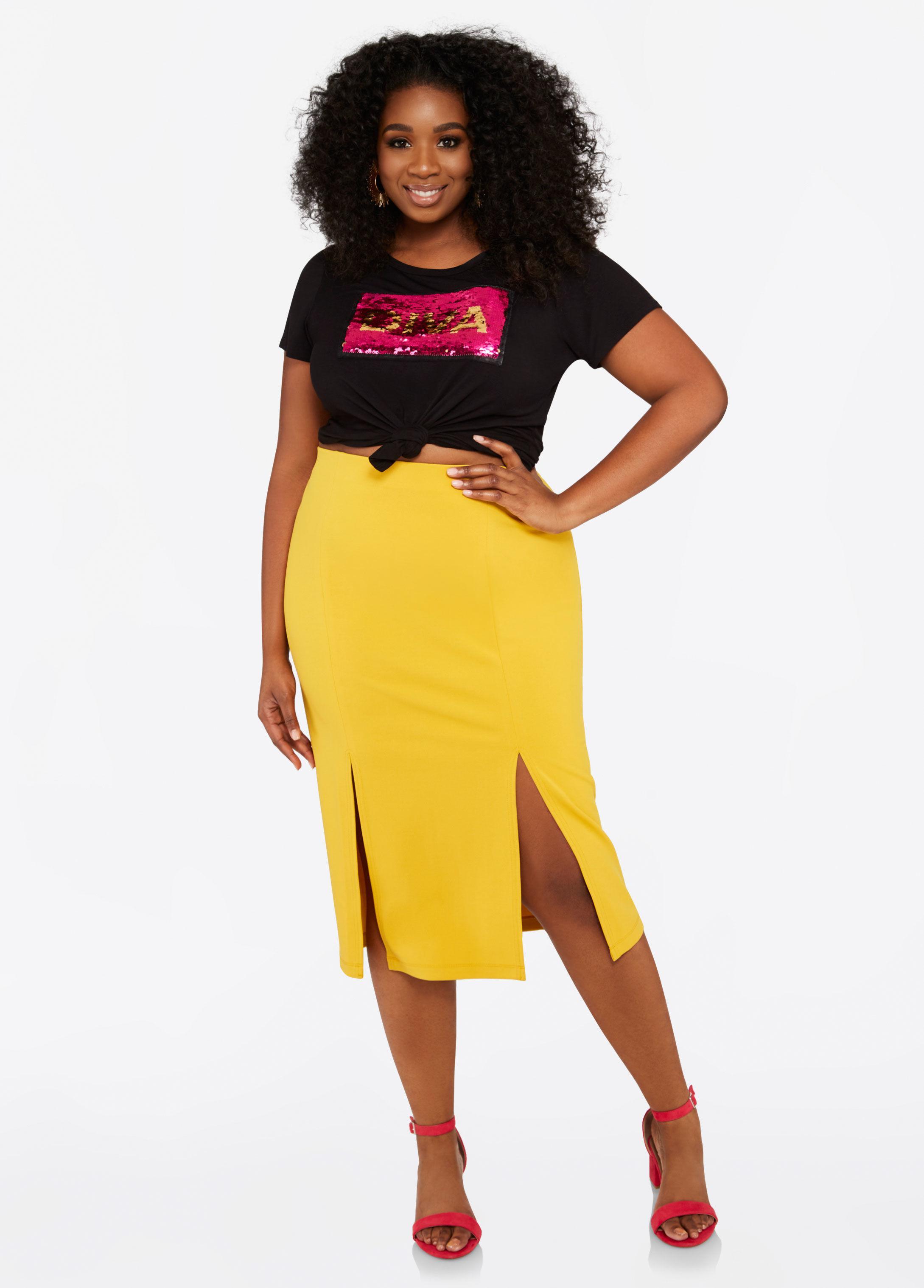 ba89981c59 Lyst - Ashley Stewart Plus Size Double Slit Midi Skirt