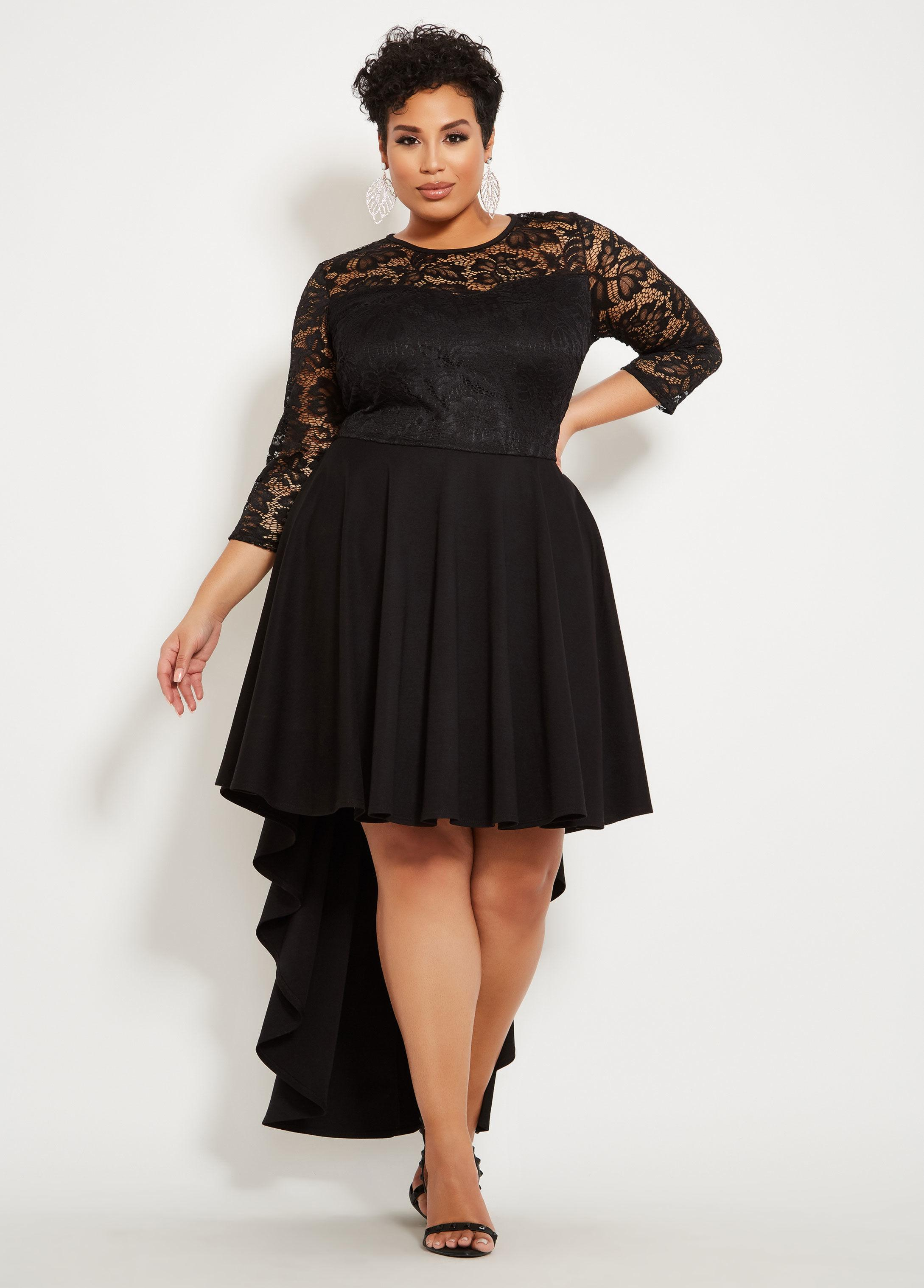 77d5c4f790 Ashley Stewart Plus Size Sweetheart Lace Bodice Dress in Black - Lyst