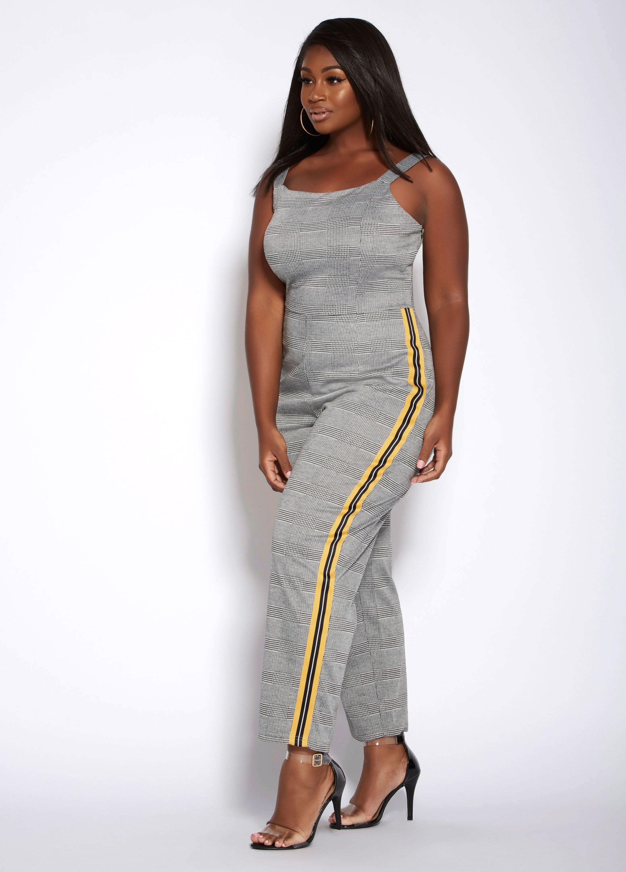 abd2105c8543 Lyst - Ashley Stewart Plus Size Striped Plaid Print Jumpsuit