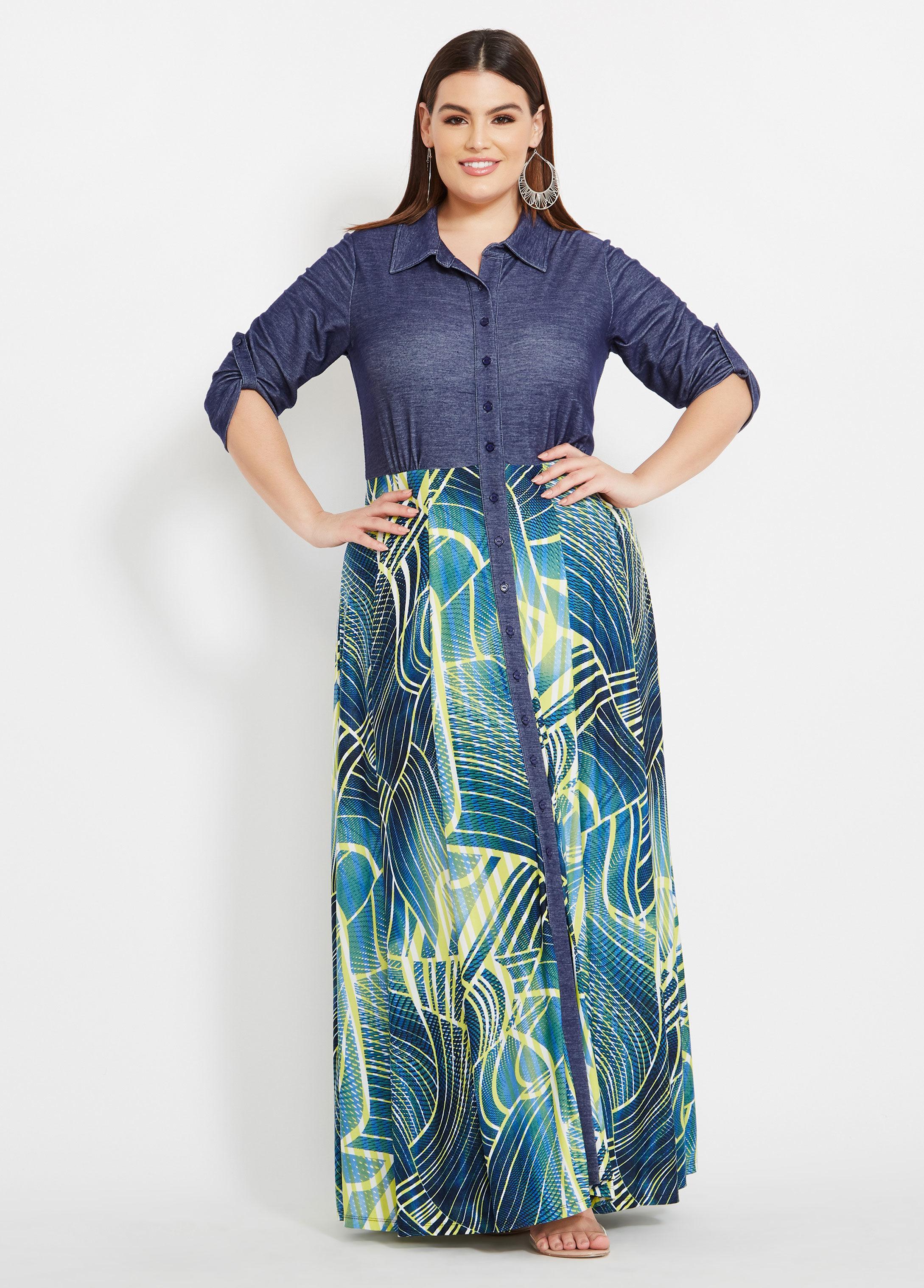 Ashley Stewart Blue Plus Size Mixed Fabric Maxi Dress
