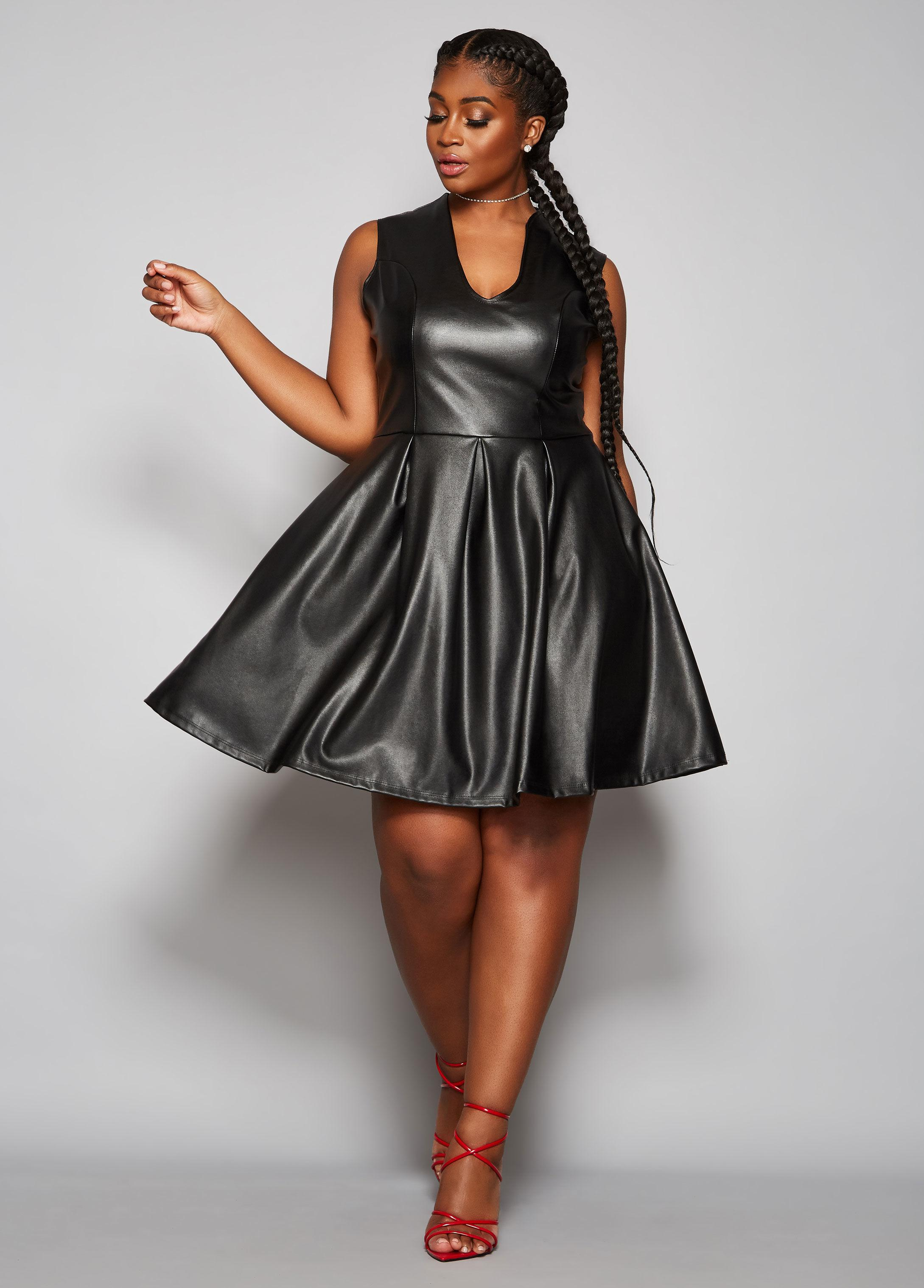 Ashley Stewart Plus Size The Shay Faux Leather Dress in Black - Lyst