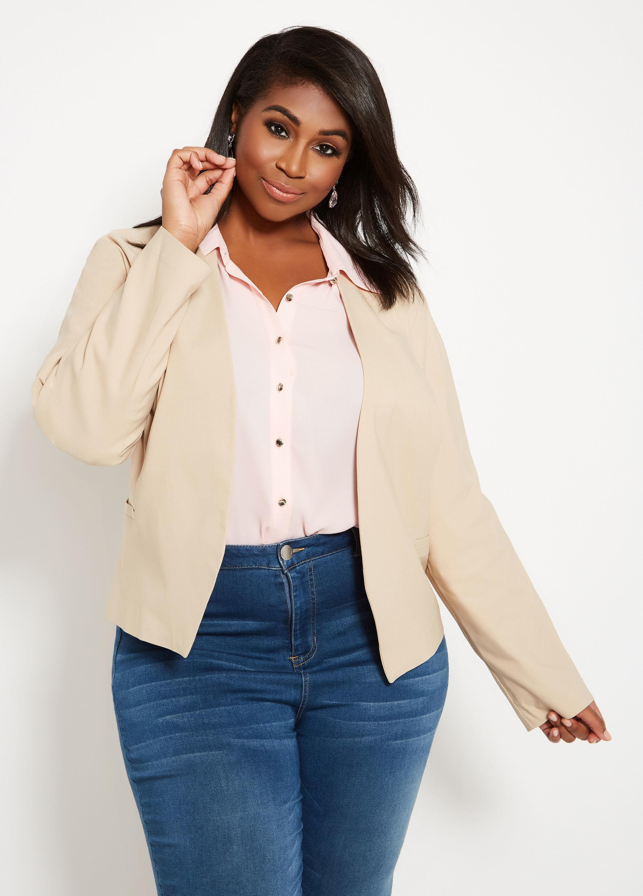 71b3c1b3fb0 Lyst - Ashley Stewart Plus Size Open Collarless Jacket With Rivets ...