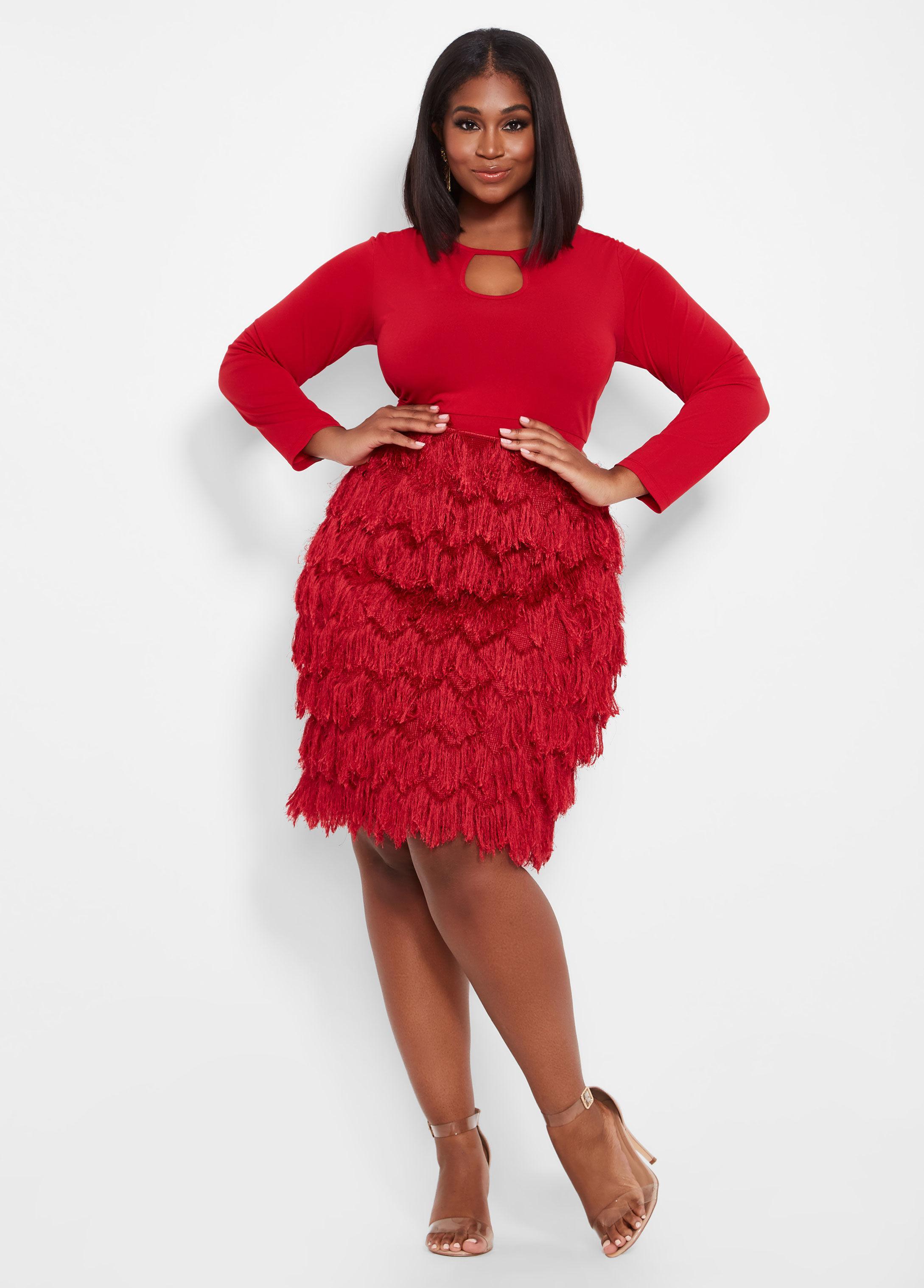 173dcf27eea Ashley Stewart Plus Size Shaggy Skirt Keyhole Dress in Red - Lyst