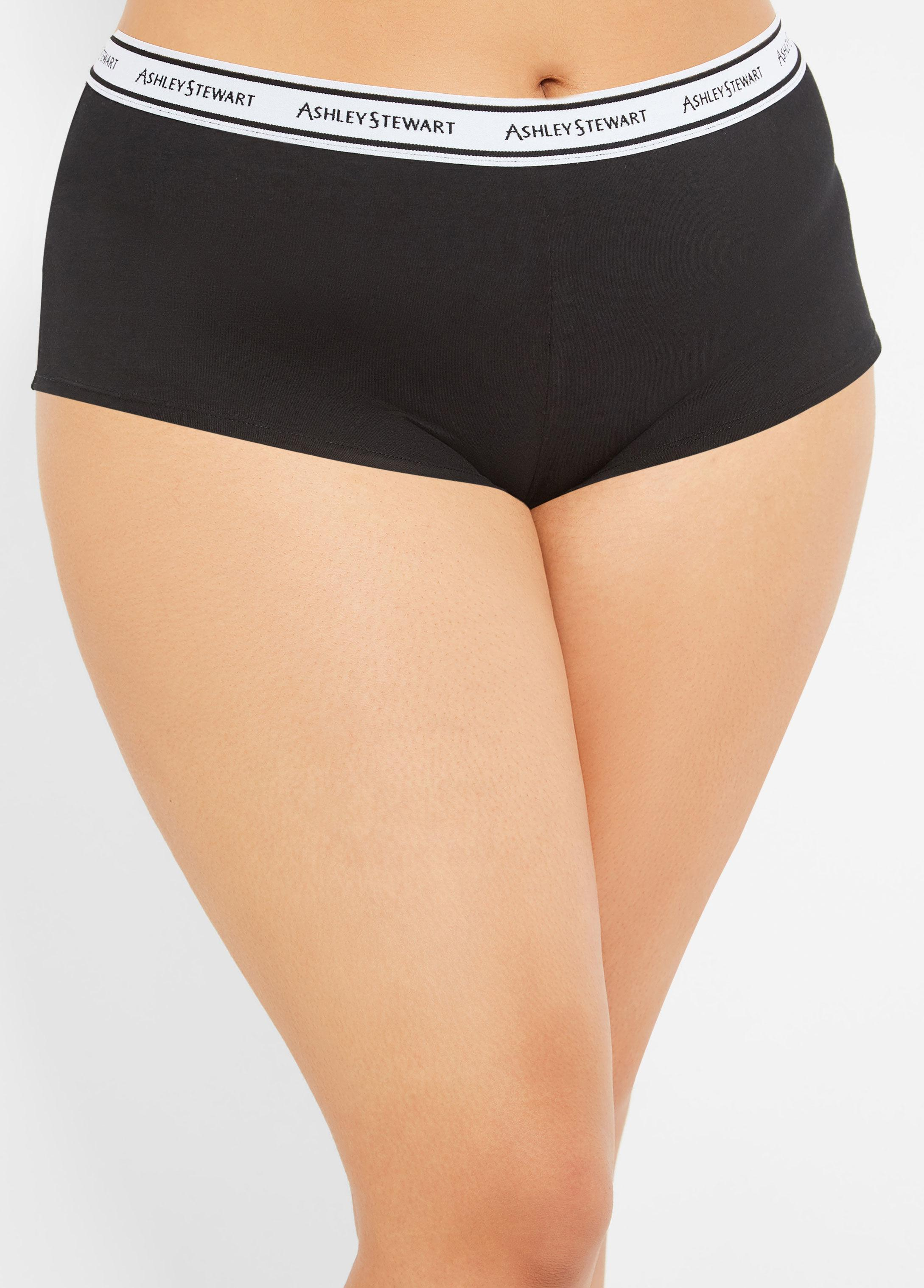 8e69123fb Ashley Stewart - Black Plus Size Logo Collection Ribbed Brief Panty - Lyst.  View fullscreen