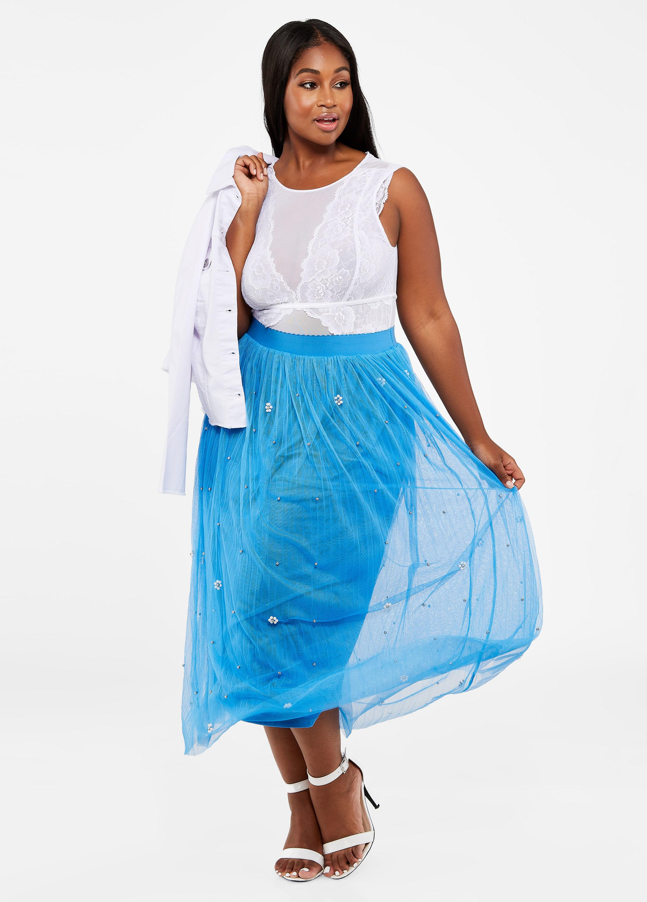 0ba4f5d597 Lyst - Ashley Stewart Plus Size Pearl Embellished Mesh Skirt in Blue