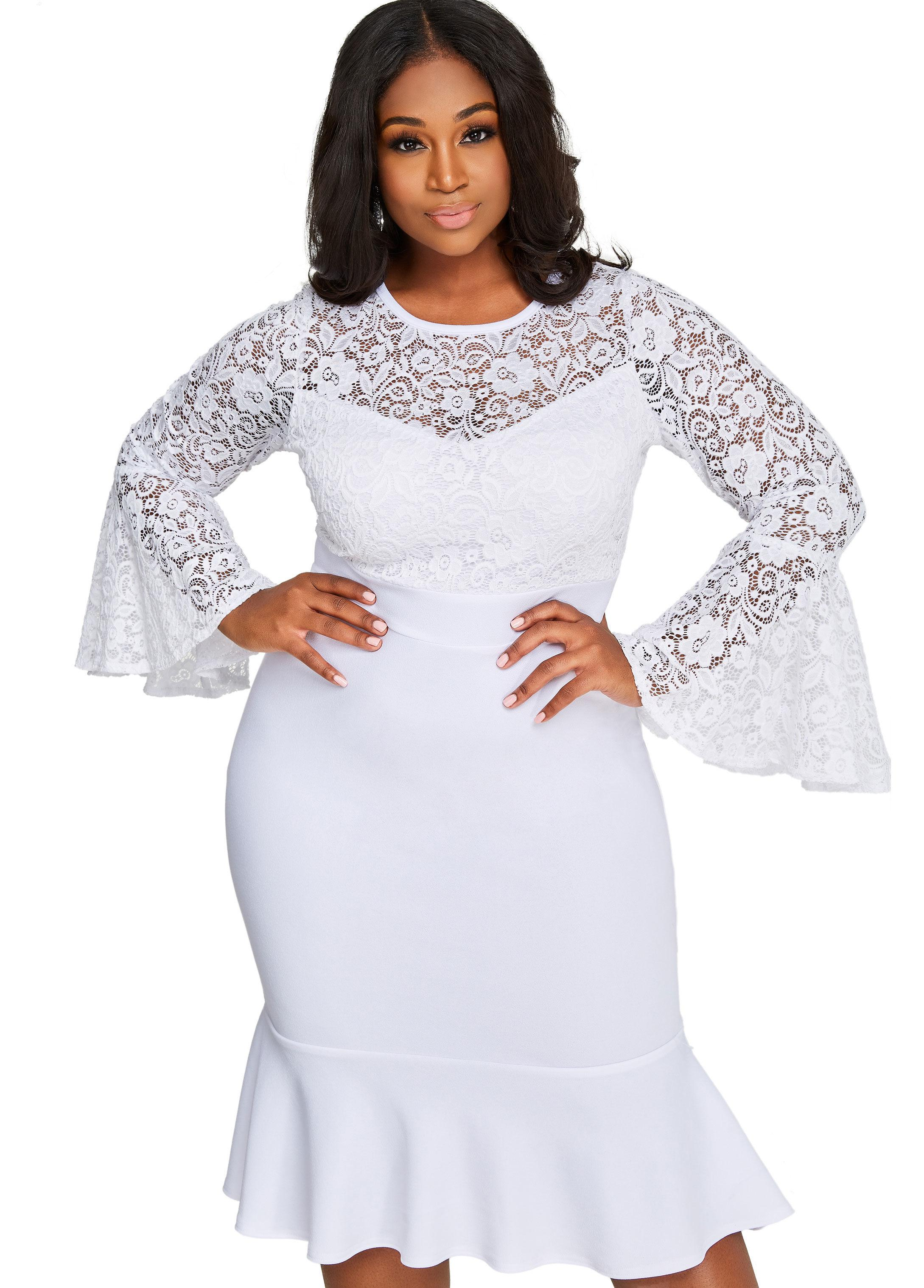 0337f0b697 Ashley Stewart Lace Top Crepe Skirt Dress in White - Lyst