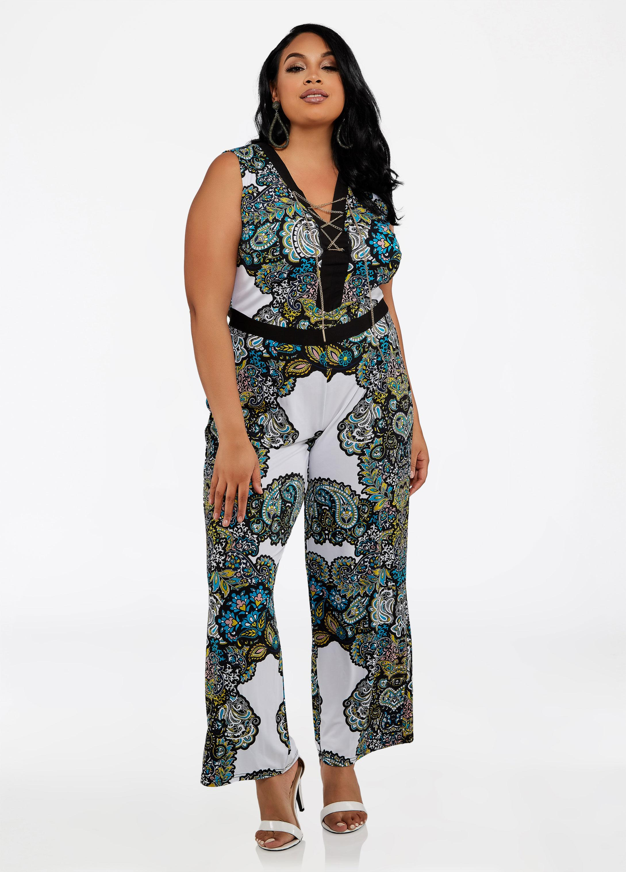 937689b85f8ea Lyst - Ashley Stewart Plus Size Chain Lace Up Print Jumpsuit in White