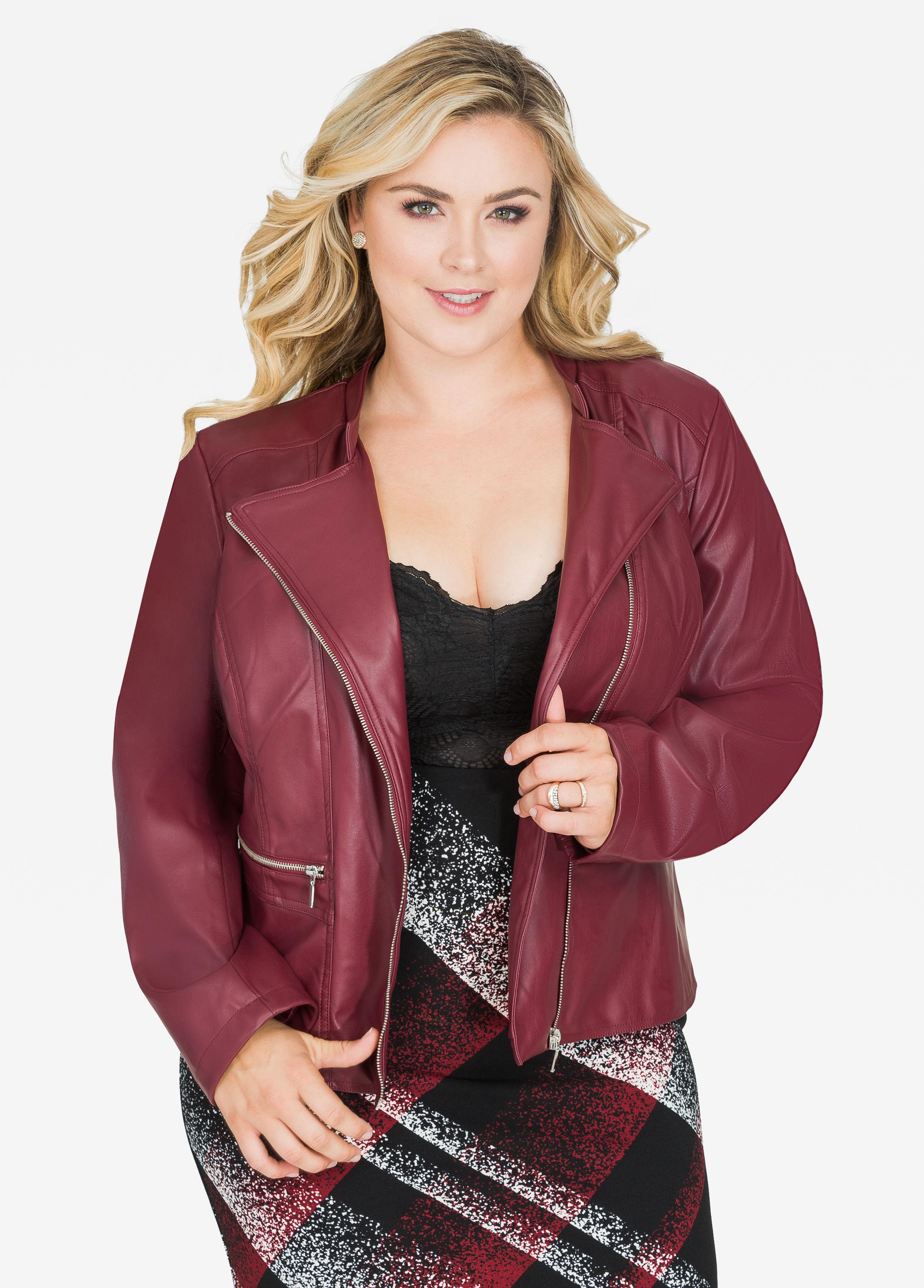 3c8f0f71ace6b Lyst - Ashley Stewart Asymmetrical Zip Pocket Faux Leather Jacket in Red