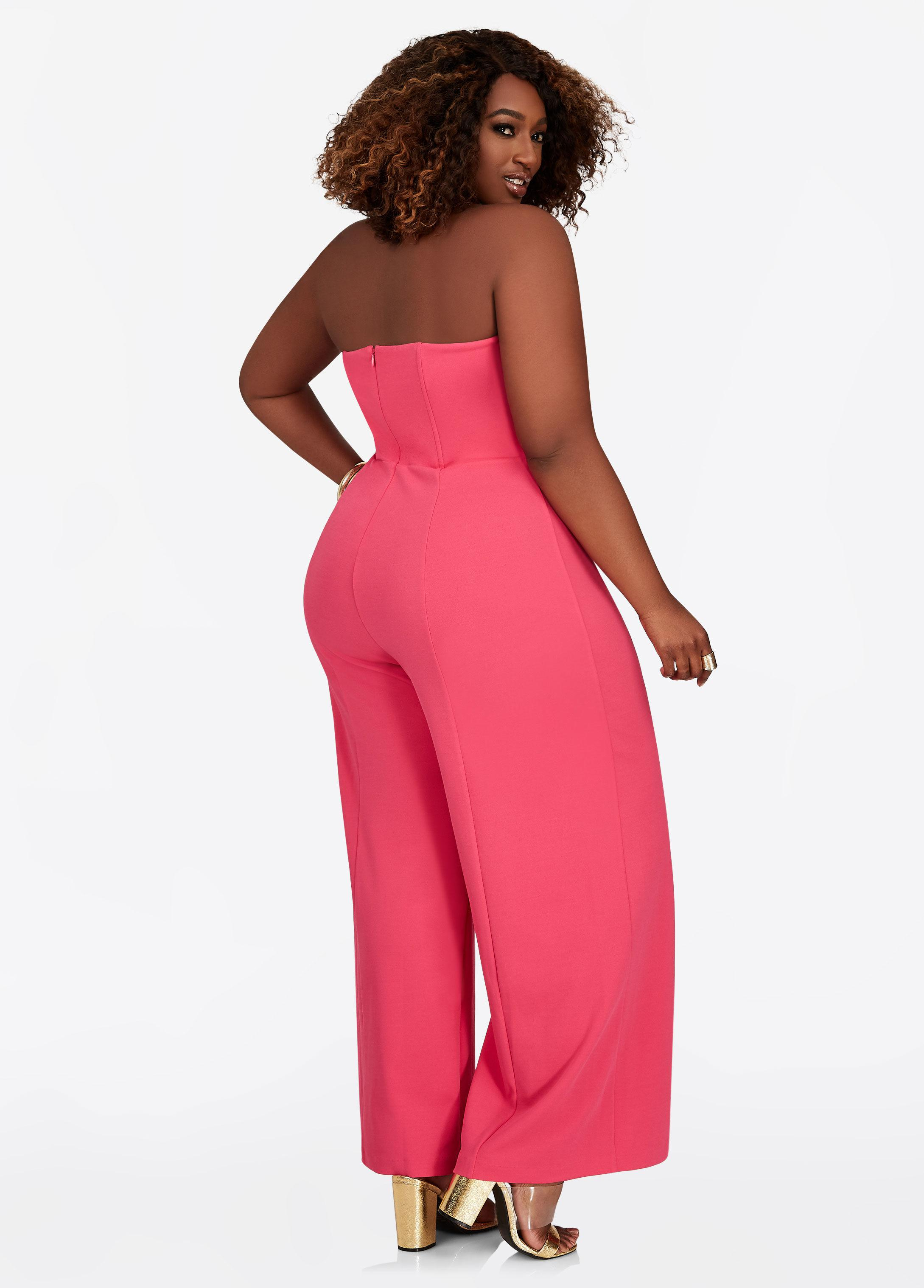 d4a43005195 Lyst - Ashley Stewart Double Breasted Tube Top Jumpsuit in Pink