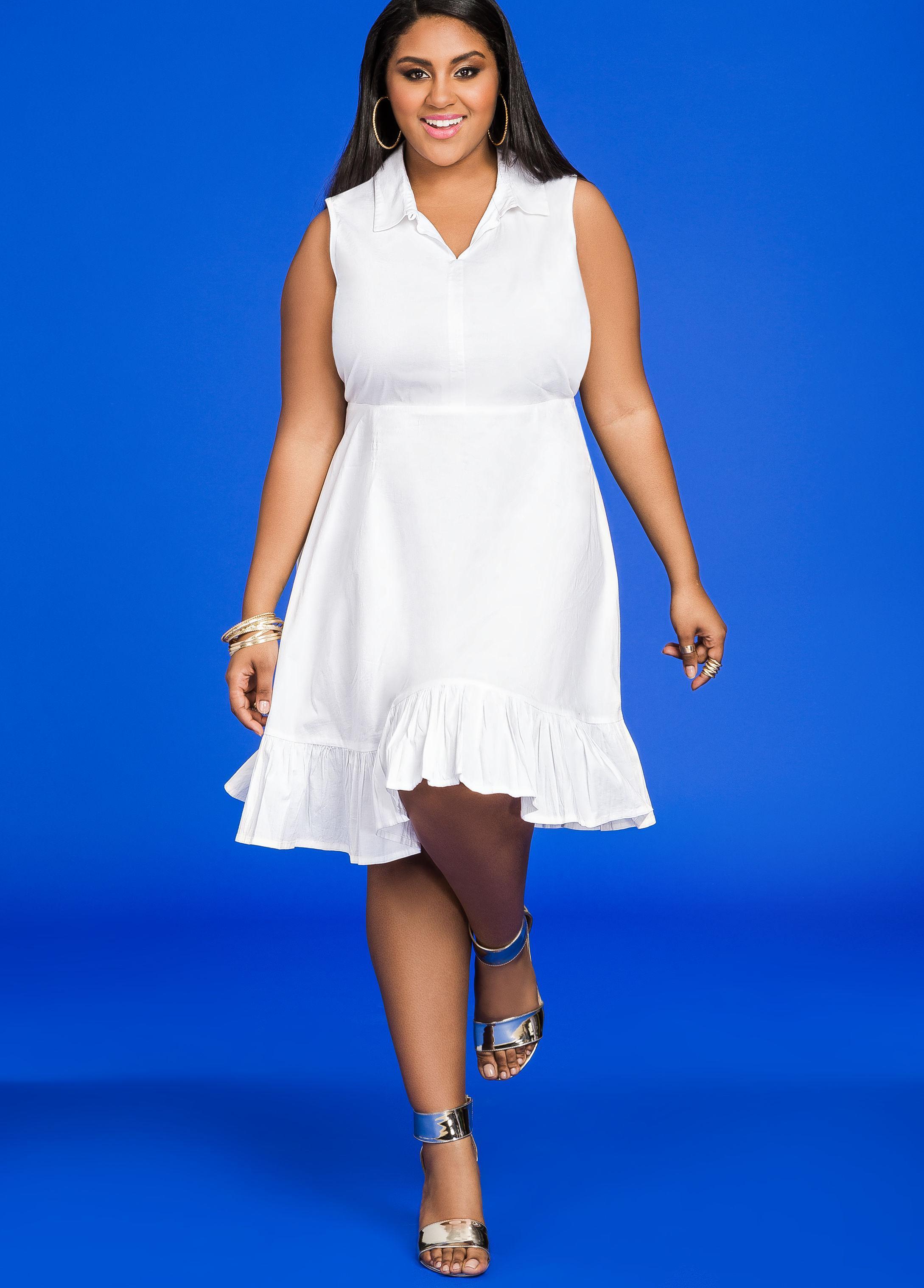 d2ee1febf2e Lyst - Ashley Stewart Sleeveless Ruffle Hem Shirtdress in White