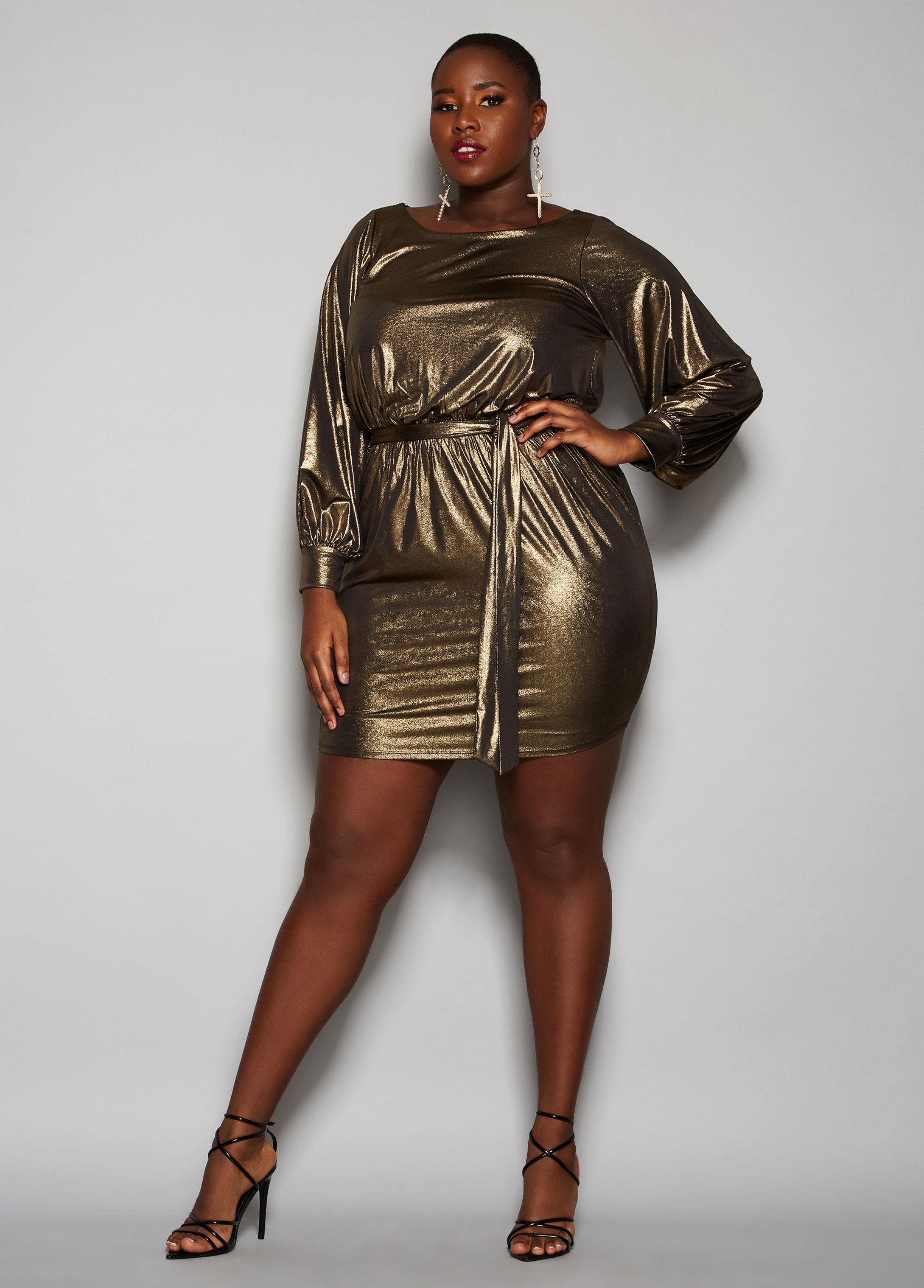93ba634cac9 Lyst - Ashley Stewart Plus Size The Rylee Dress in Metallic