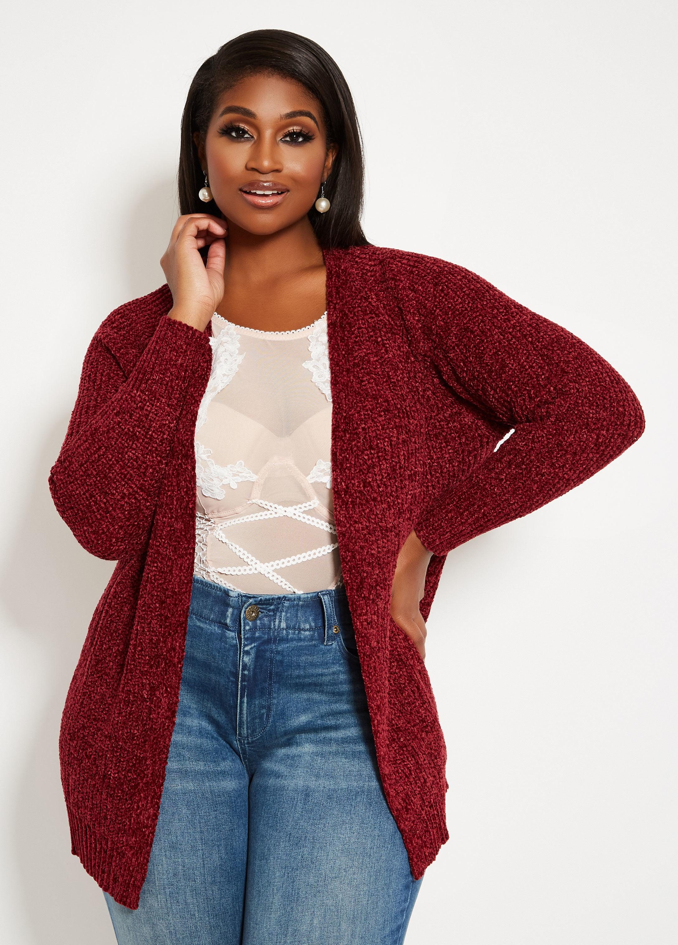 Lyst Ashley Stewart Plus Size Chenille Cardigan Sweater In Red