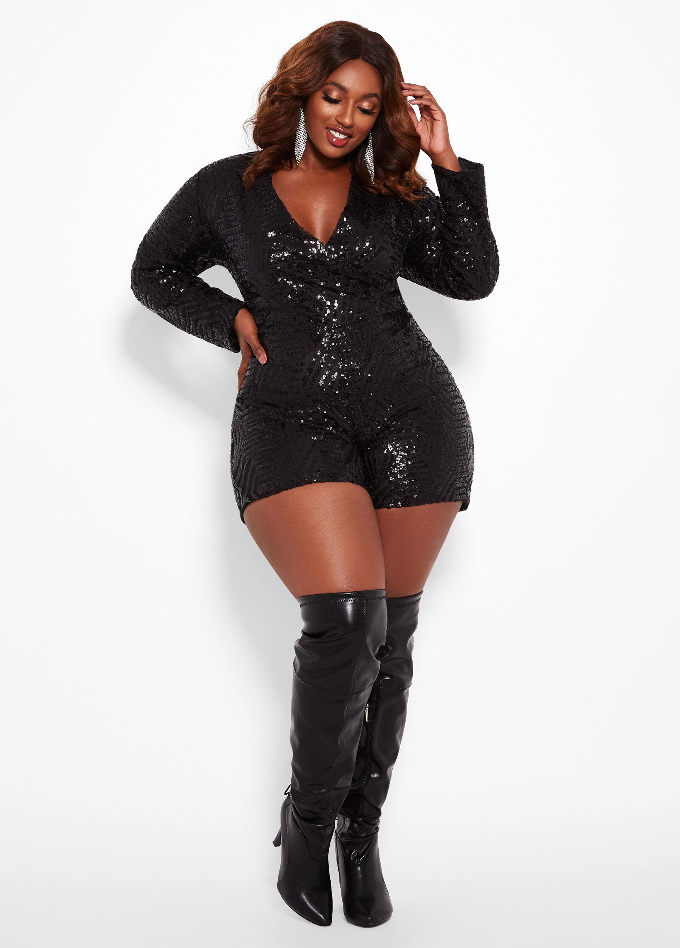 02be0bcd2469 Lyst - Ashley Stewart Plus Size Sequin Embellished Romper in Black