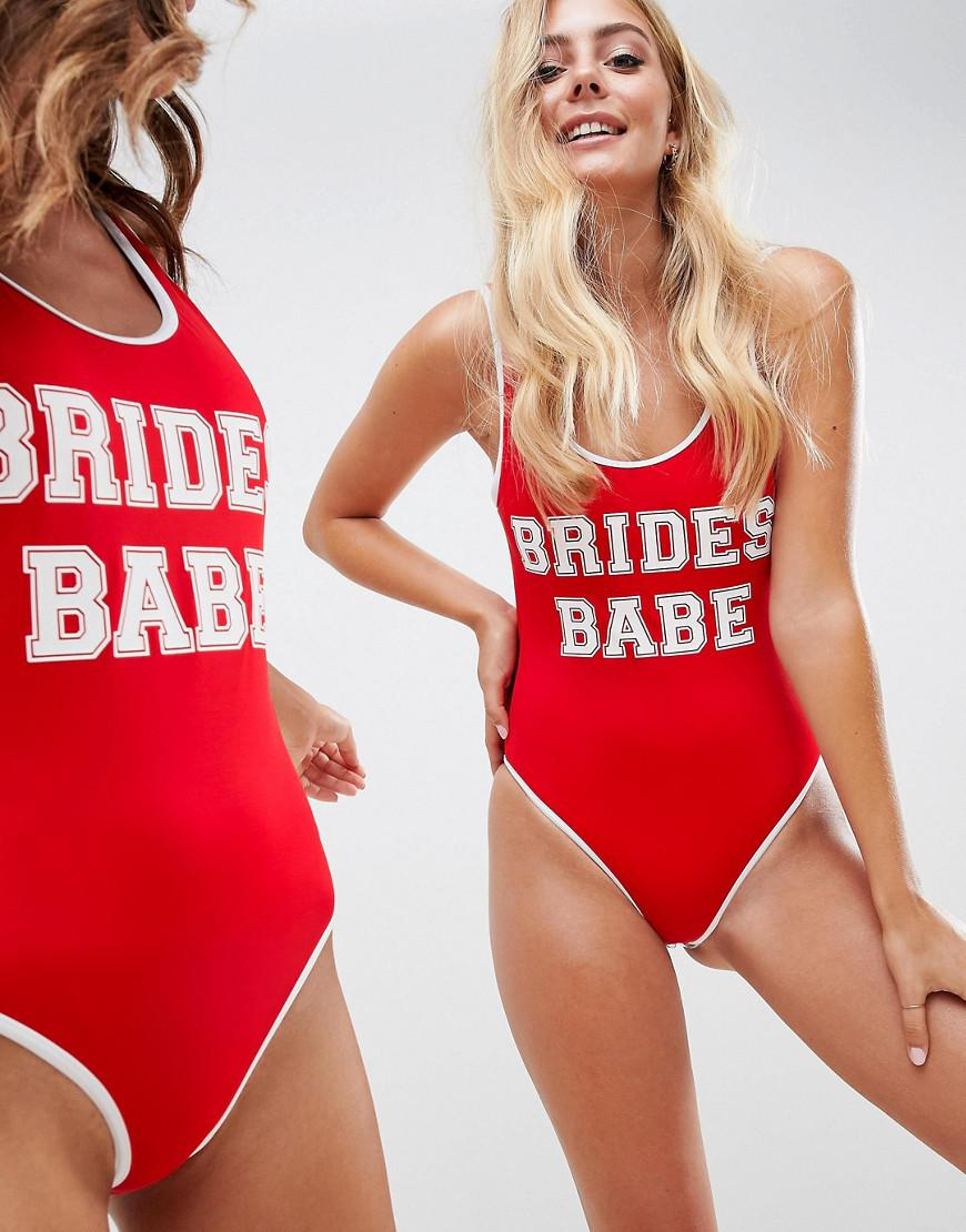d2ca3100403 Lyst - ASOS Recycled Brides Babe Slogan Swimsuit With Contrast Bind ...
