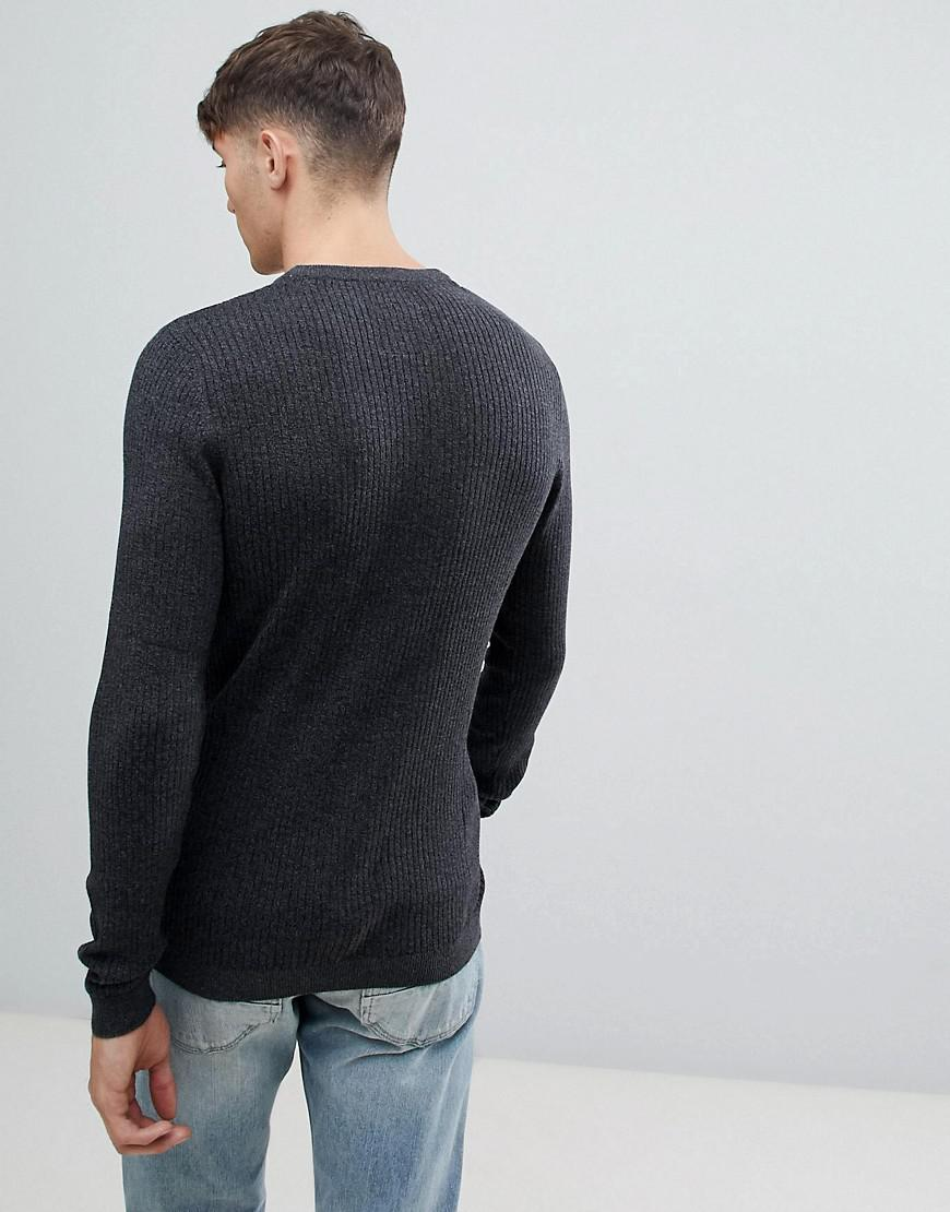 99e0d47d6dc7c2 Esprit Rib Knit Muscle Fit Sweater In Black in Black for Men - Lyst