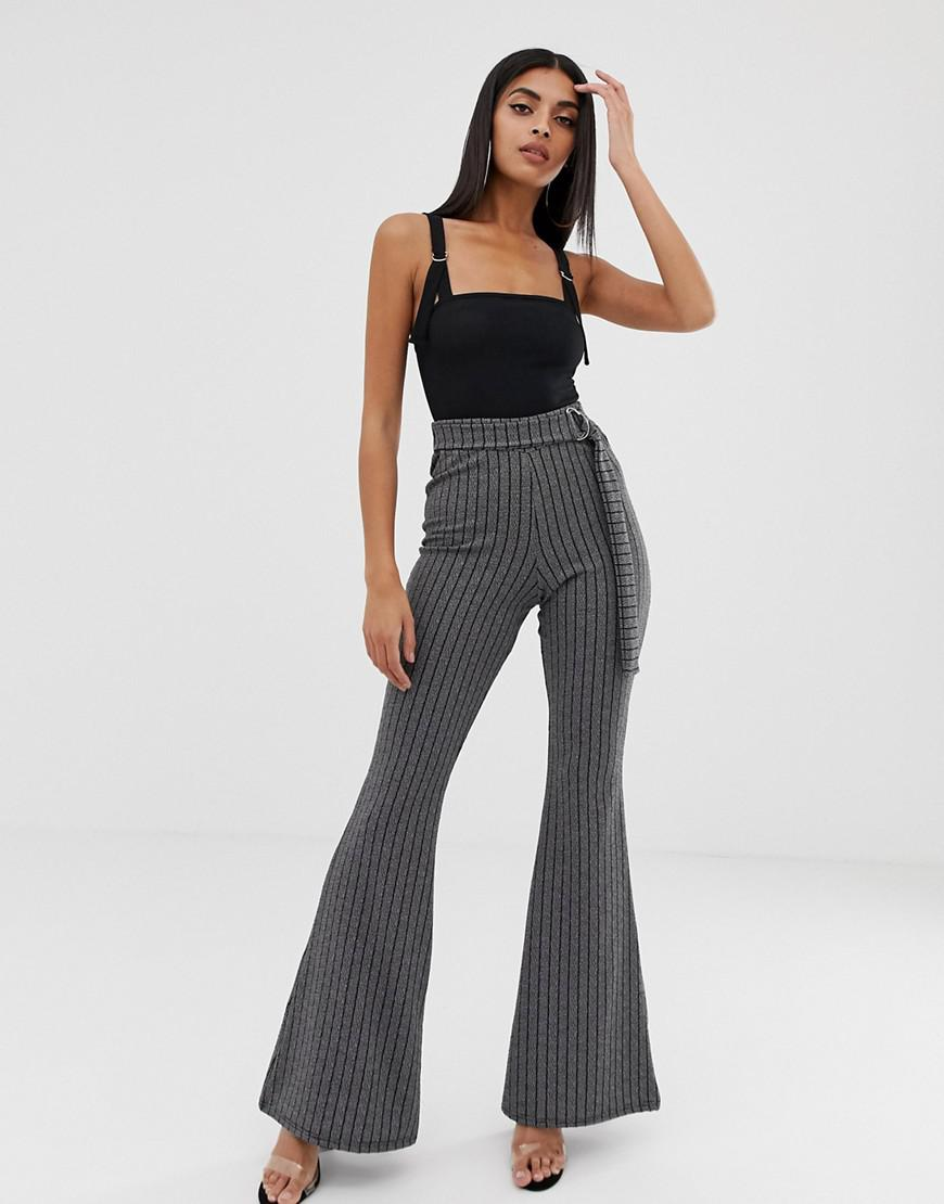 beb906c95e2 Prettylittlething Belted Flared Pants In Gray Pinstripe in White - Lyst