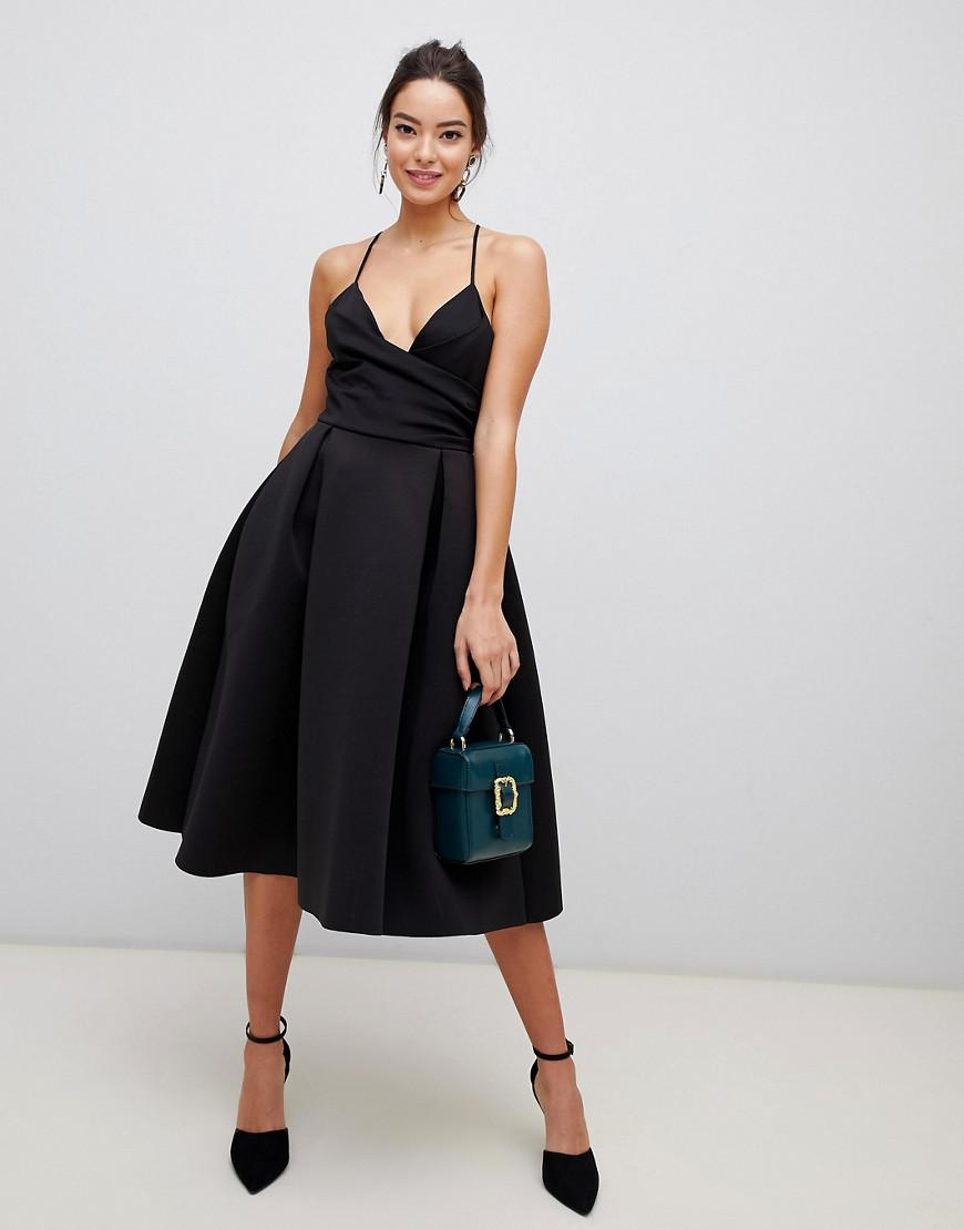 f8d0a363c Lyst - ASOS Scuba Cami Prom Midi Dress in Black