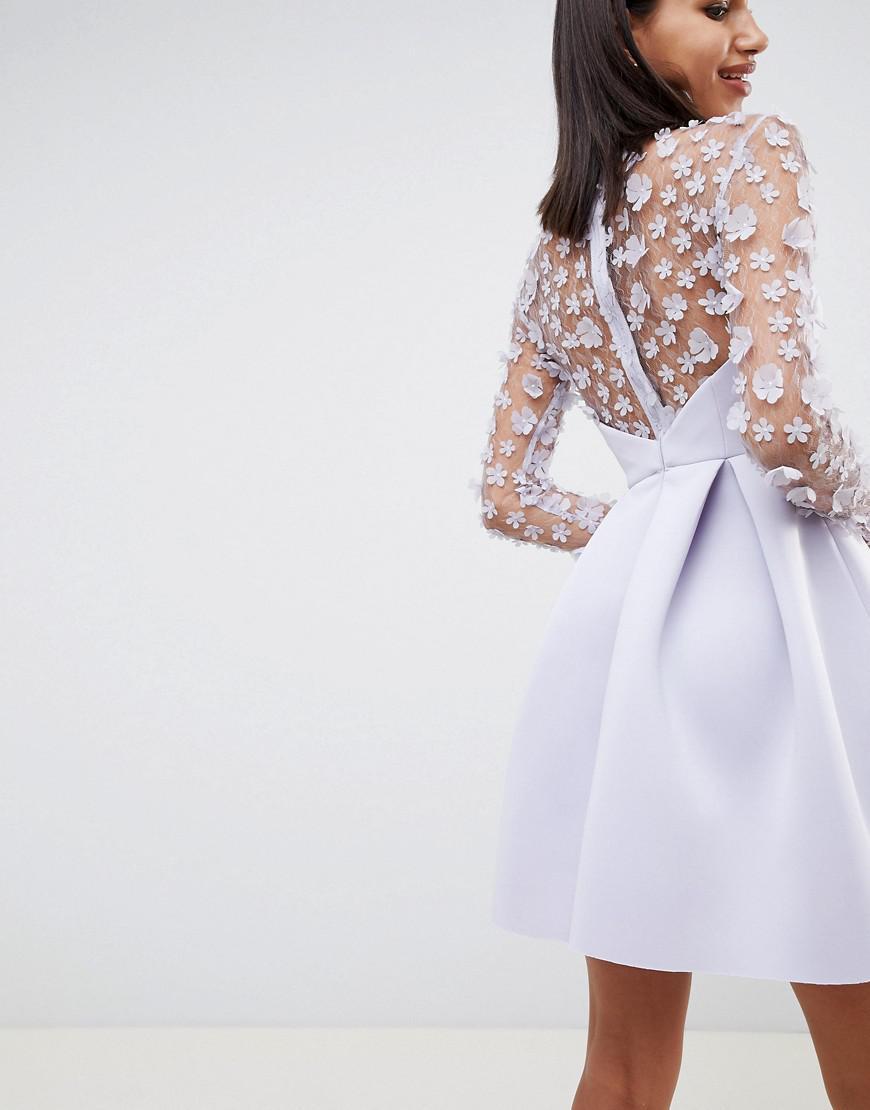 8096f065927 ASOS 3d Floral Lace Bandeau Scuba Prom Mini Dress in Purple - Lyst