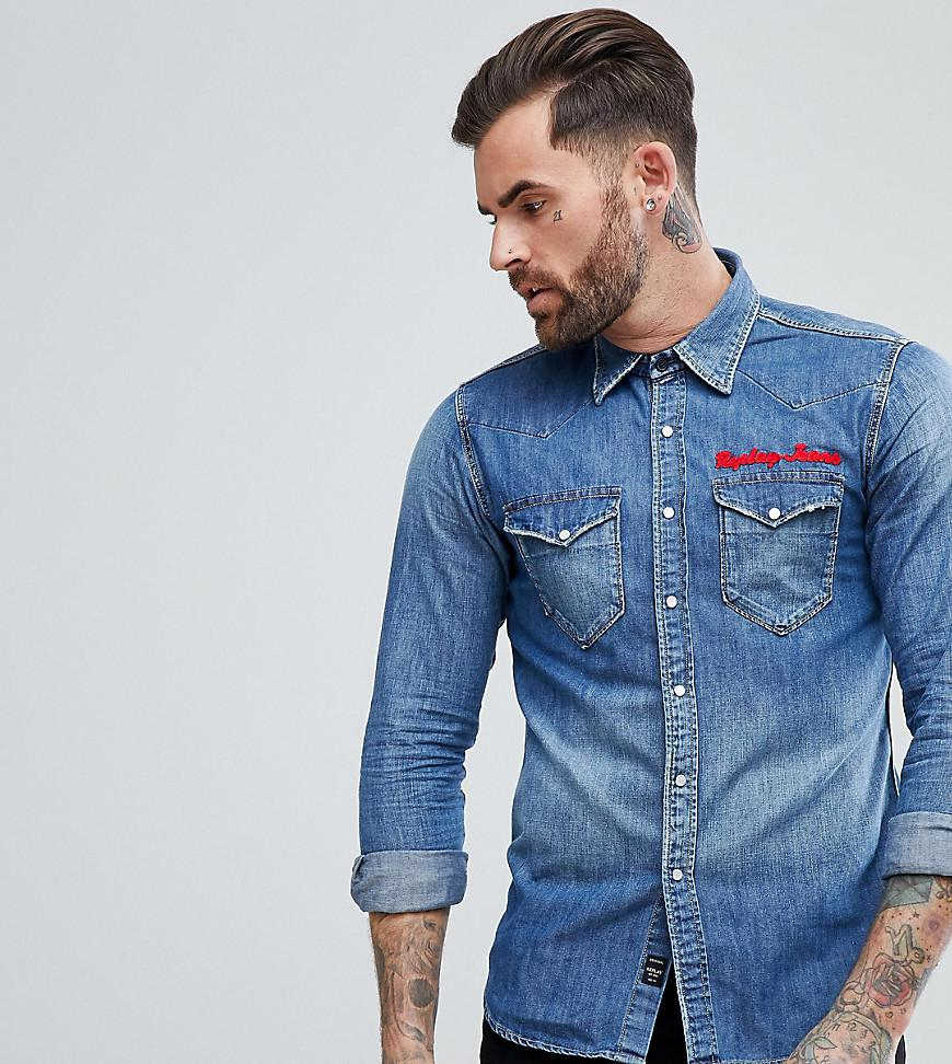 Lyst Replay Embroidered Denim Shirt In Blue For Men