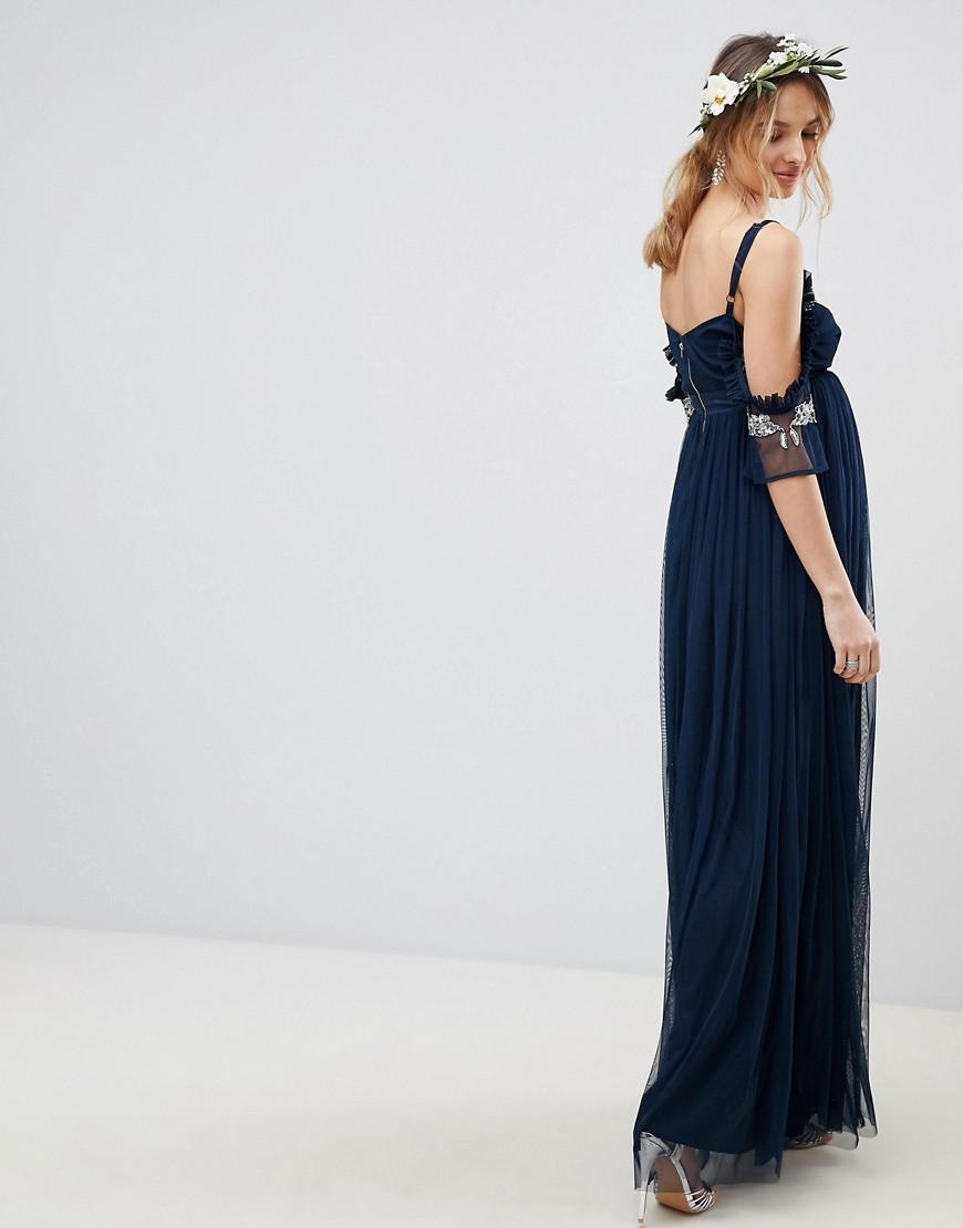 fc9d0f3a Maya Maternity Cold Shoulder Sequin Detail Tulle Maxi Dress With Ruffle  Detail in Blue - Lyst