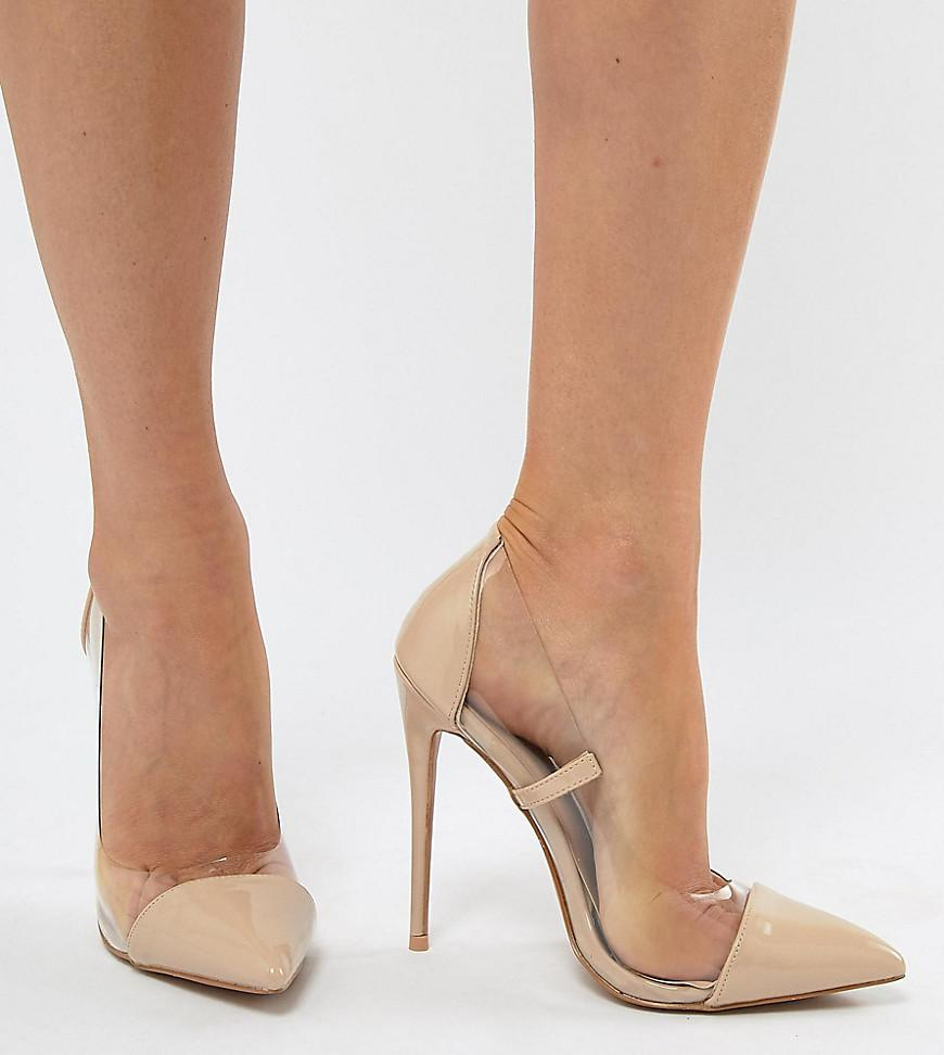 712ebdae50b PrettyLittleThing Clear Pointed Heeled Pumps in Natural - Lyst