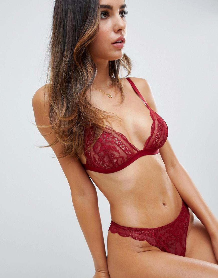 a8f6908a45 Lyst - ASOS Roxy Lace Thong in Red