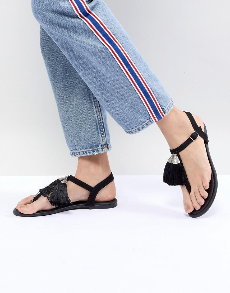 Fashion Style For Sale Tassel Toe Post Flat Sandal - Black New Look Free Shipping The Cheapest XechgVUy