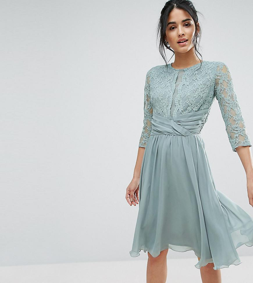 Lyst Elise Ryan Ruched Waist Lace Midi Dress In Green