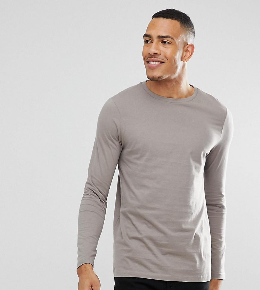 208bb605 Lyst - ASOS Tall Long Sleeve T-shirt With Crew Neck In Beige in Gray ...