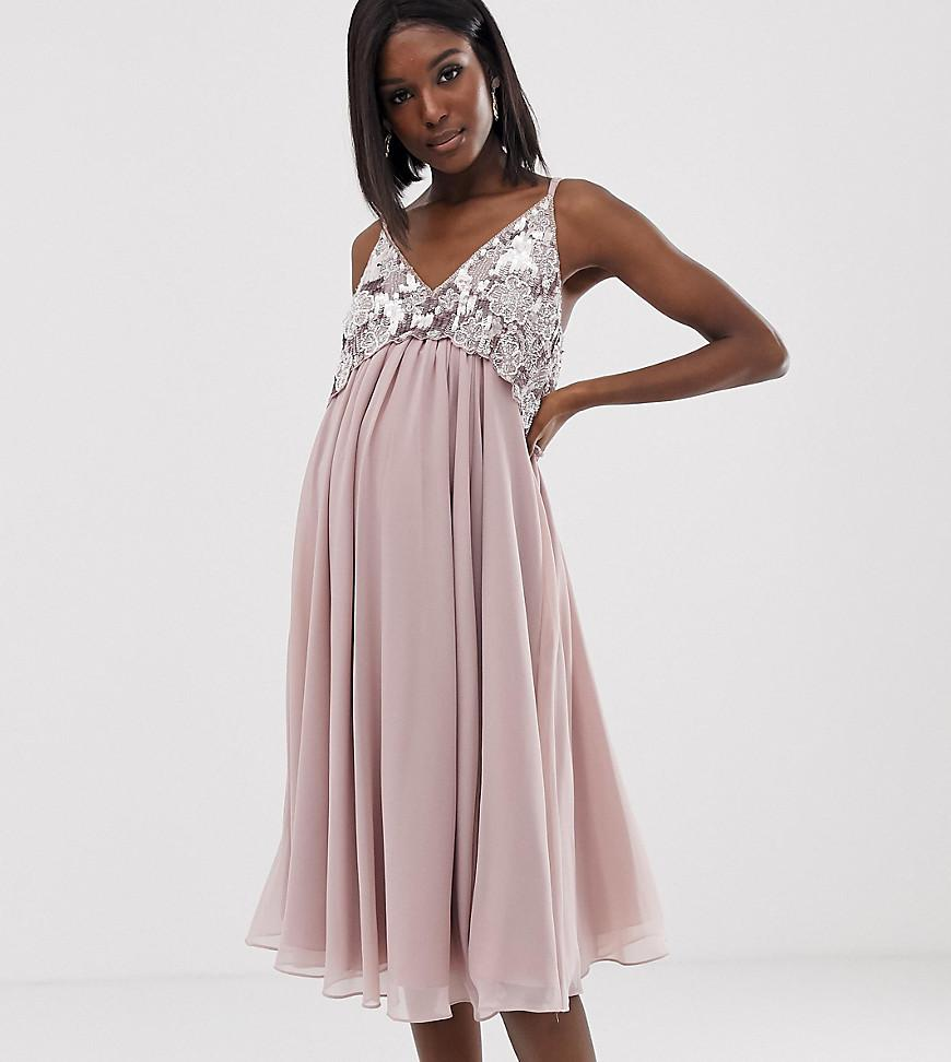 858c5b7e127471 ASOS. Women s Pink Asos Design Maternity Cami Midi Dress With Pearl And Embellished  Crop Top Bodice