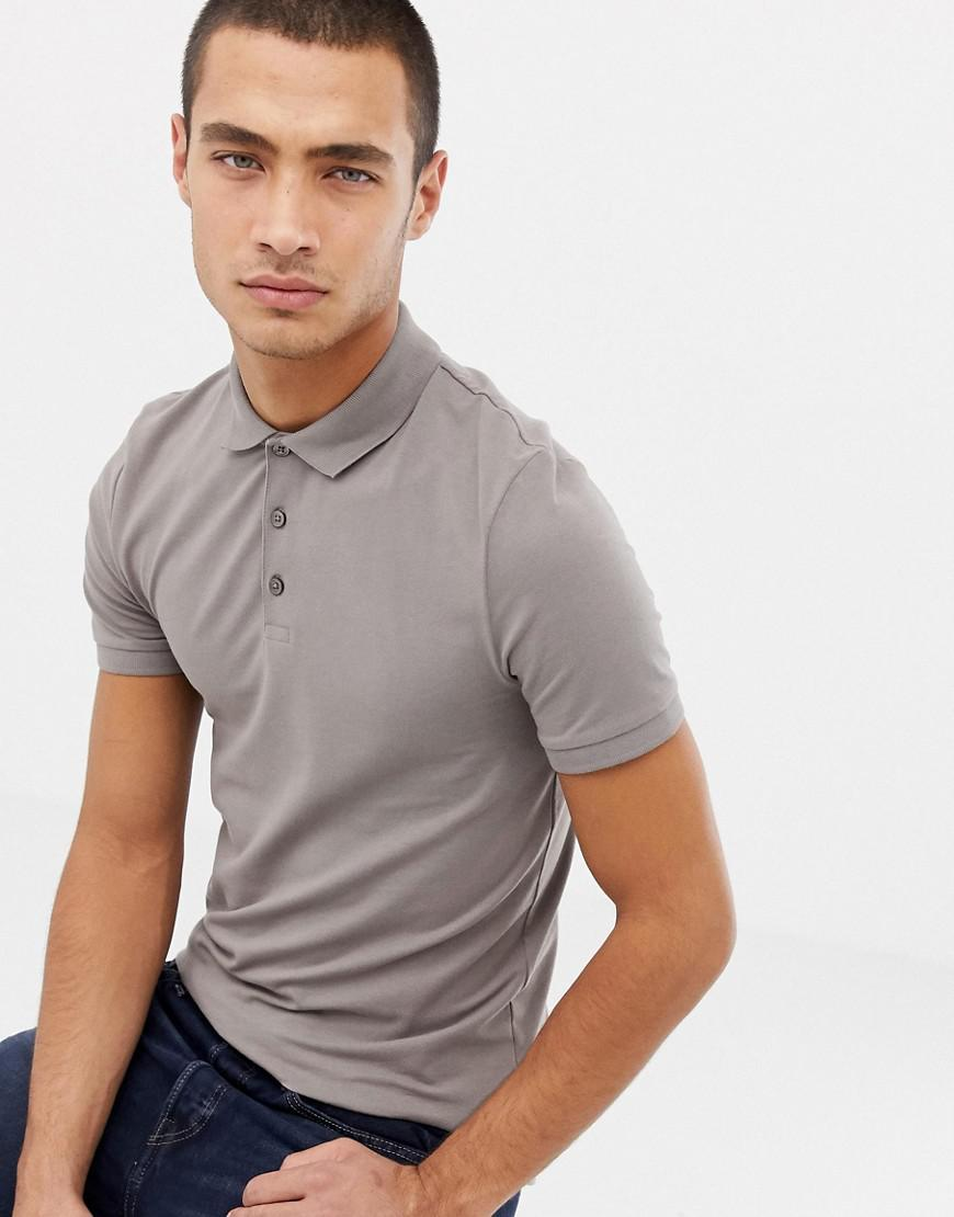 4c8323be Asos Muscle Fit Polo In Jersey In Grey in Natural for Men - Lyst