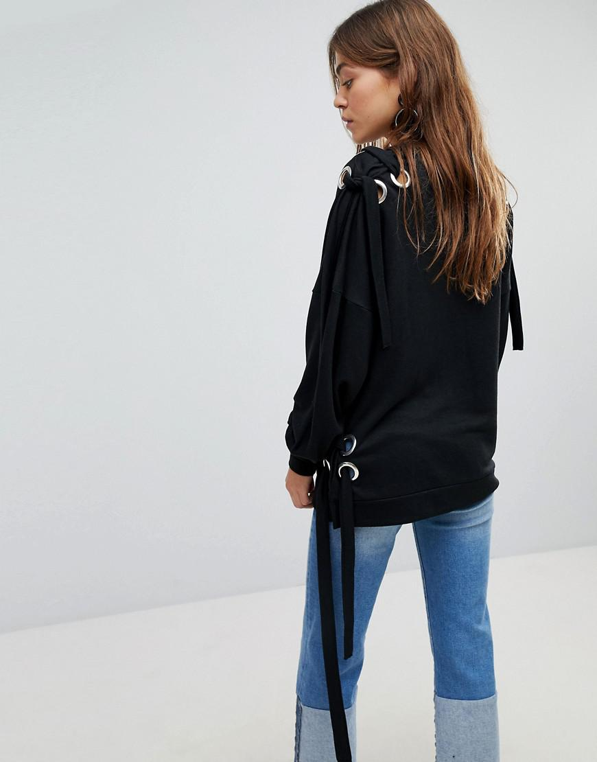 e8ade7d56d268a Lyst - ONLY Sweater With Eyelet Detail in Black