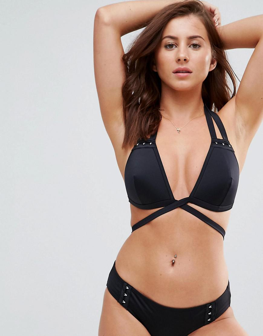 Mix and Match Strappy Moulded Triangle Bikini Top with Hook and Eye - Black Asos Free Shipping Geniue Stockist lz9CFzKm