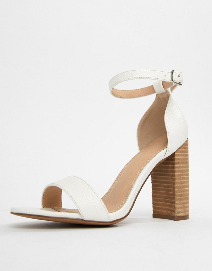 a03c5ba60238 Lyst - ASOS Tamsina Wide Fit Block Heeled Sandals in White