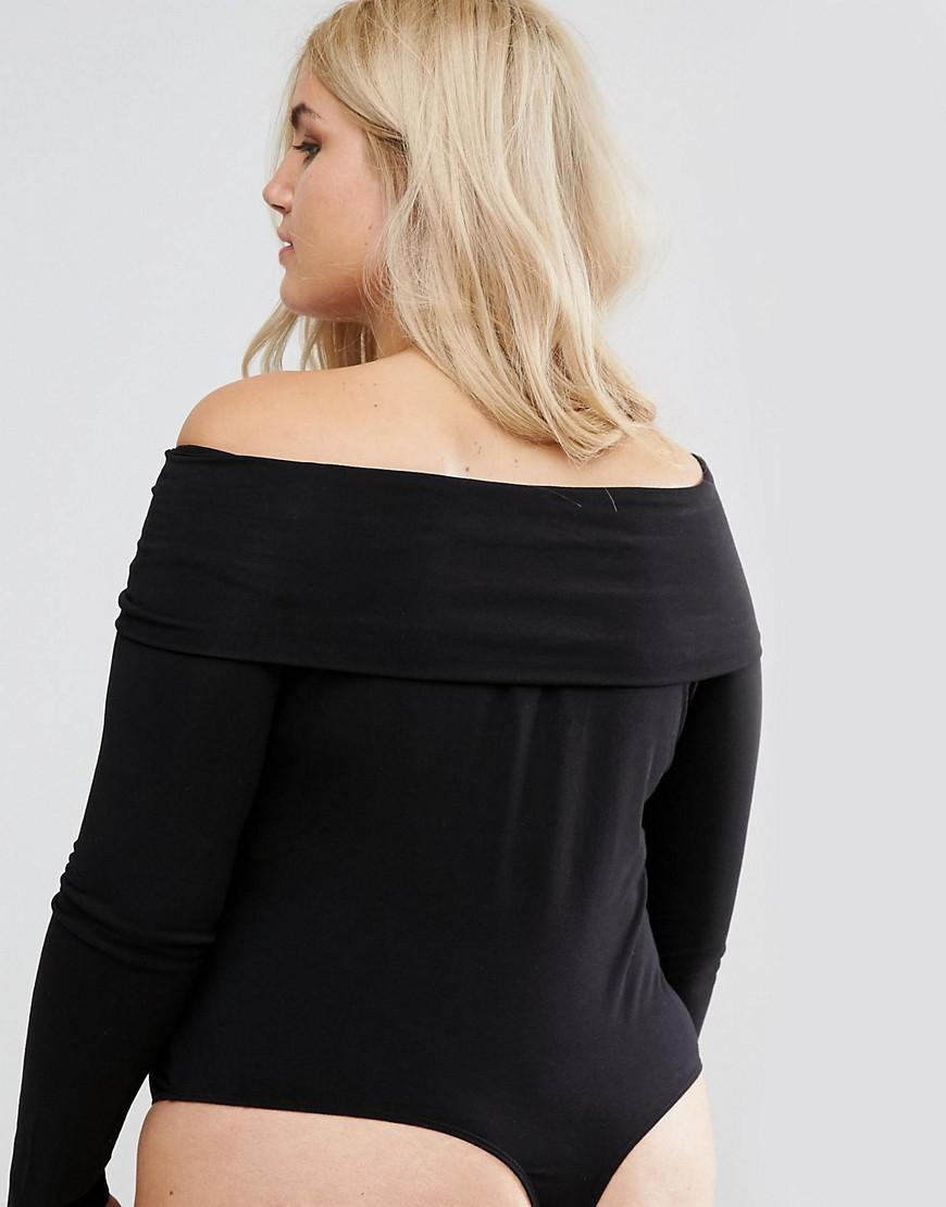 a6fc6625f0 Lyst - ASOS Foldover Long Sleeve Off Shoulder Body in Black