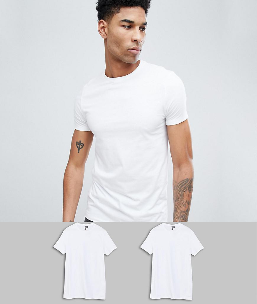 Cheap Good Selling Browse Sale Online TALL T-Shirt With Crew Neck 2 Pack SAVE - White/white Asos Q16LeqU