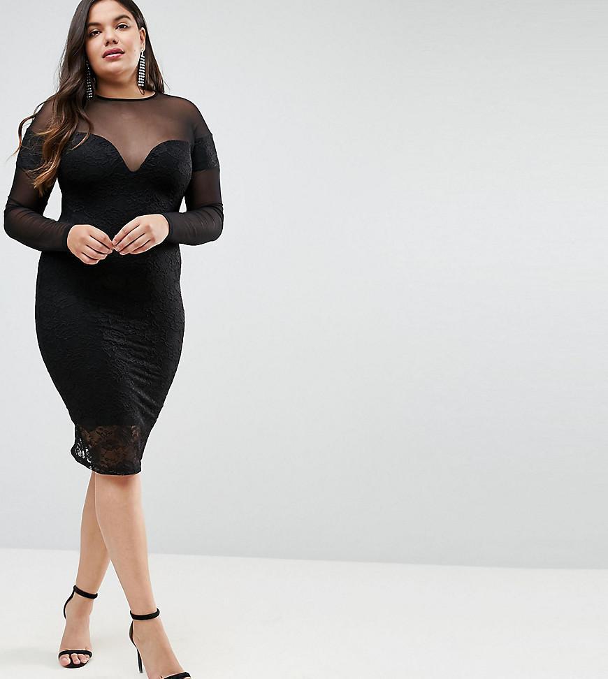 Margalo black lace long sleeve bodycon dress