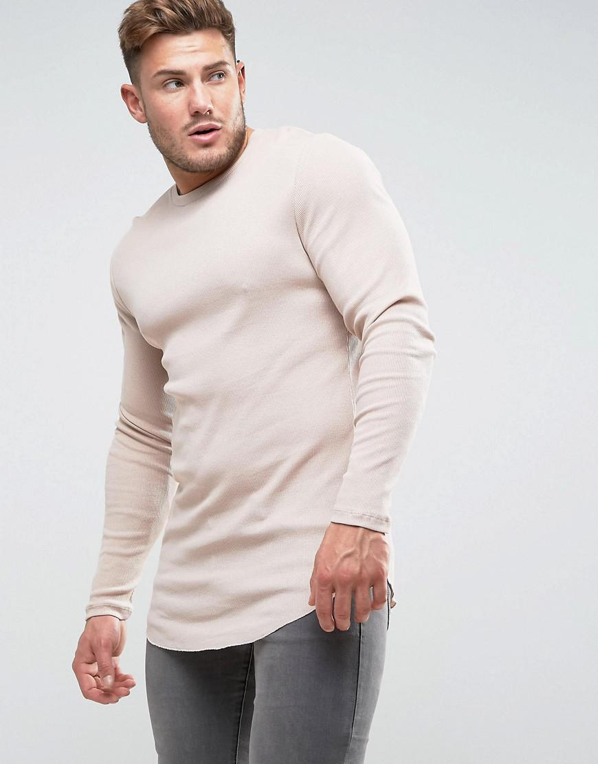 f07f1348 Lyst - Asos Super Longline Muscle Fit Long Sleeve Rib T-shirt With ...