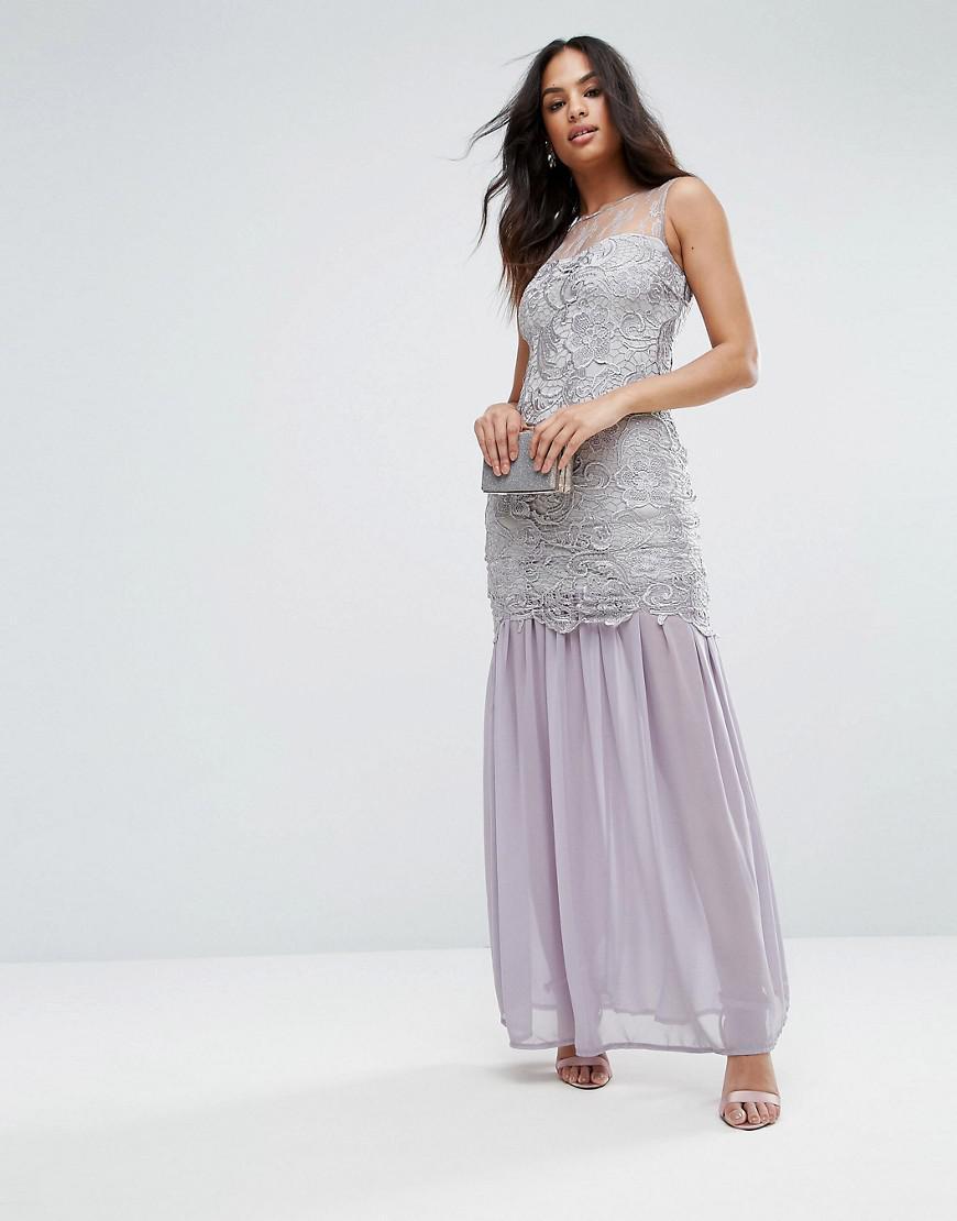 cd5e78fba7d AX Paris Grey Crochet Chiffon Maxi Dress in Gray - Lyst