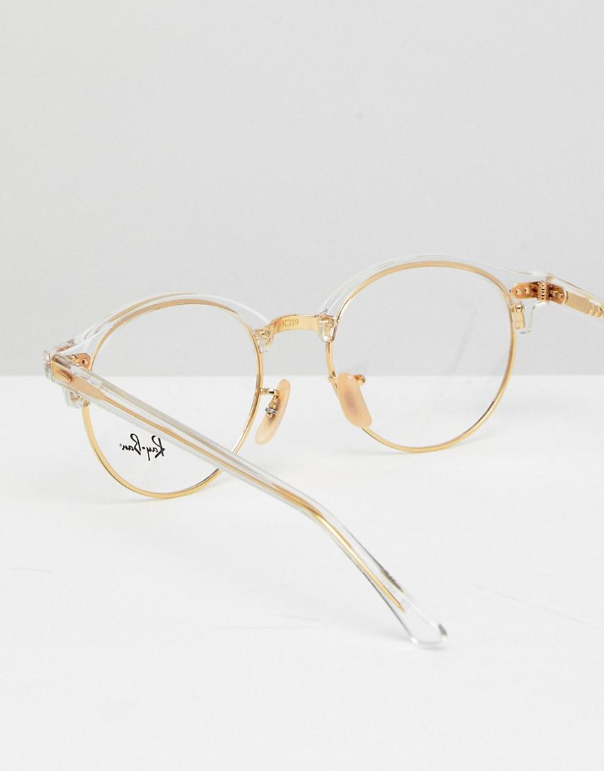 01282c5605 ... italy ray ban round optical frames with demo lenses in gold 49mm in  aa7df dfa6c