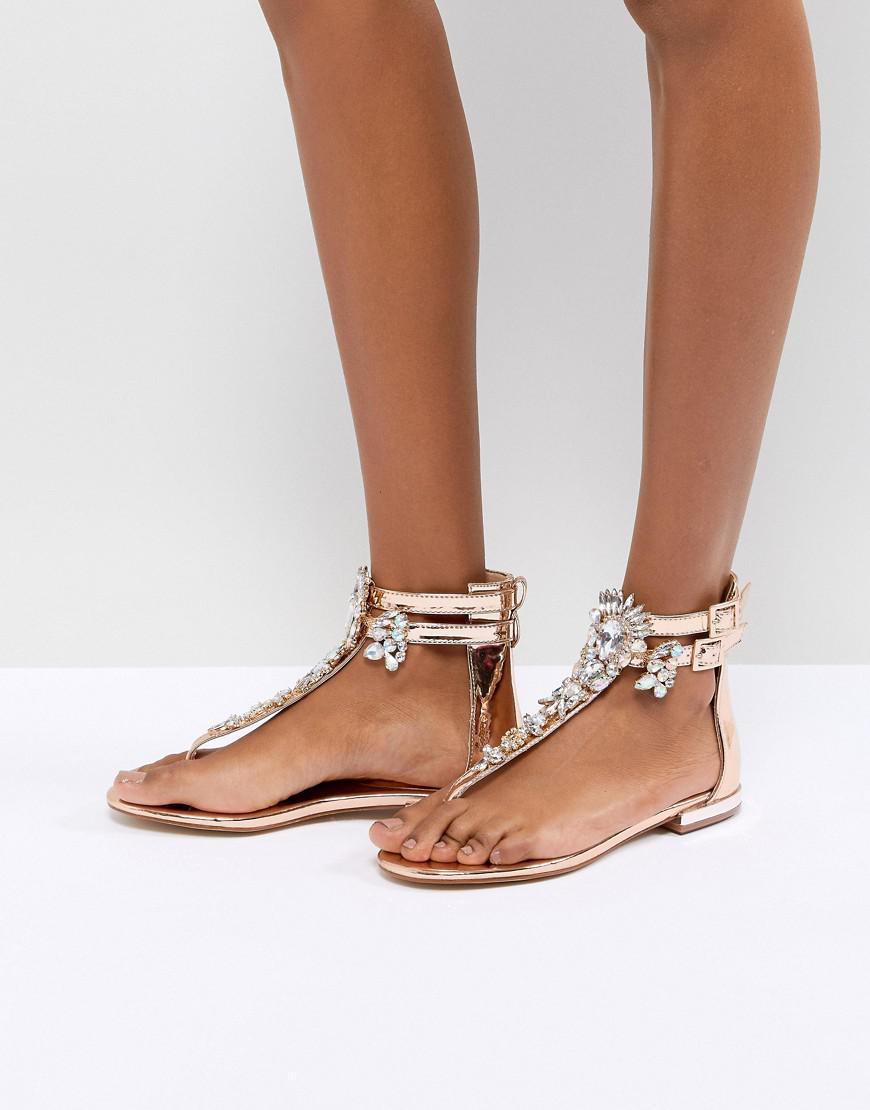6207b04f97f Lyst - Public Desire Kammie Rose Gold Embellished Toe Post Sandals ...