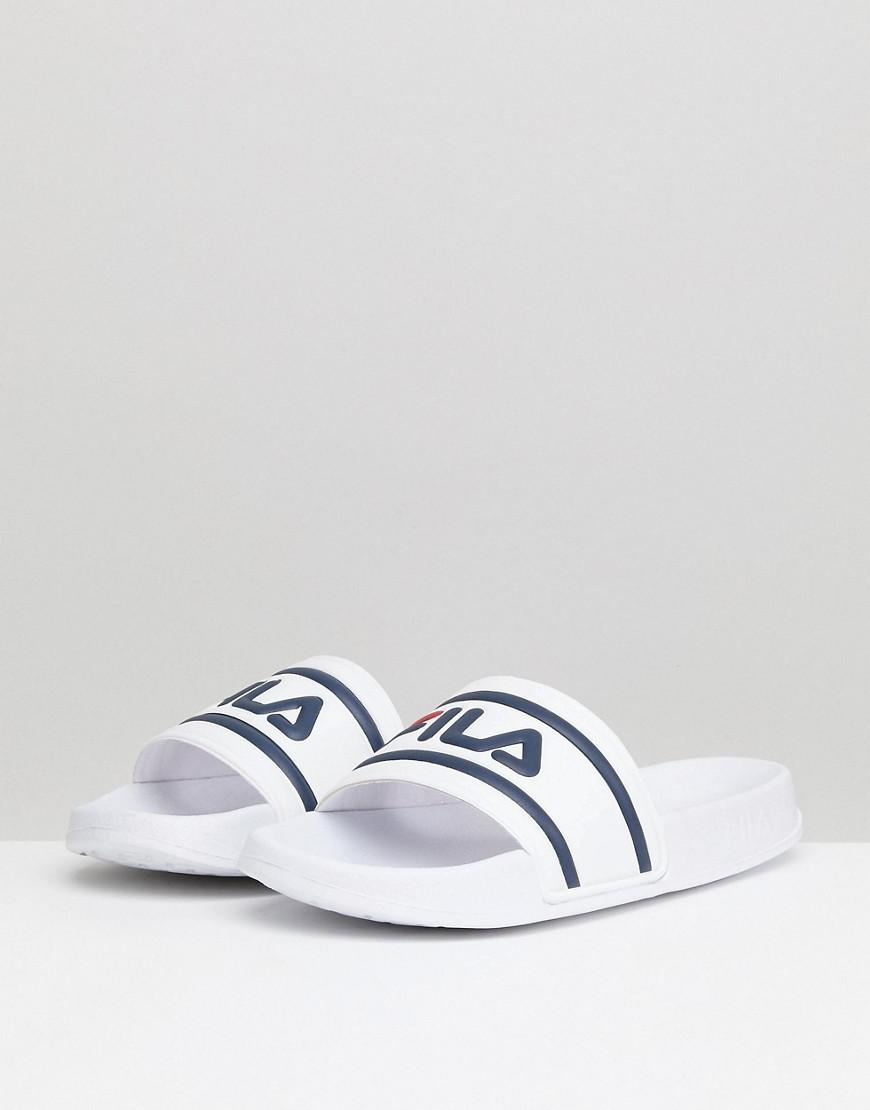 2ff400f88d4 Fila Morro Bay Logo Sliders In White in White for Men - Lyst