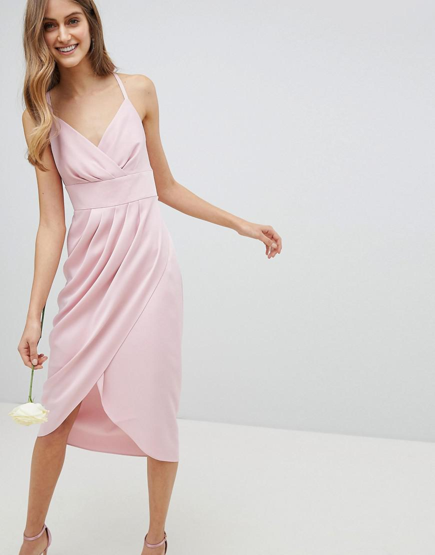 968b31cf74 Lyst - Ted Baker Tie The Knot Drape Midi Dress in Pink